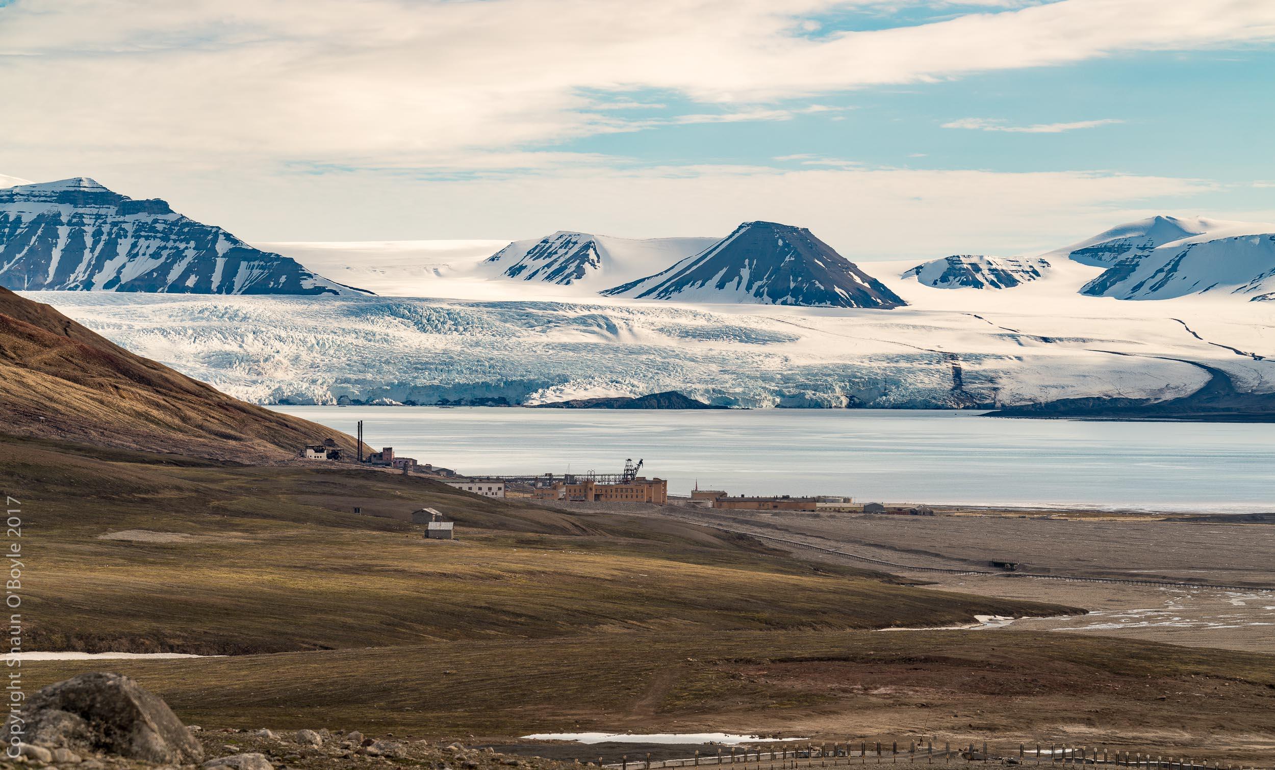 Pyramiden, Isfjorden (Ice Fjord) and Nordenskioldbreen beyond. Breen is Norwegian for glacier.
