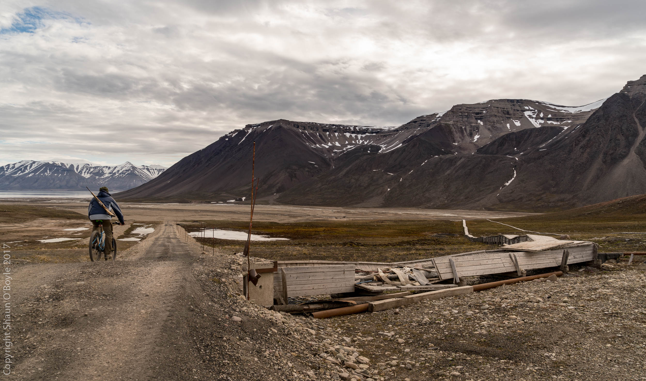 Cycling old mining roads, Pyramiden, Svalbard