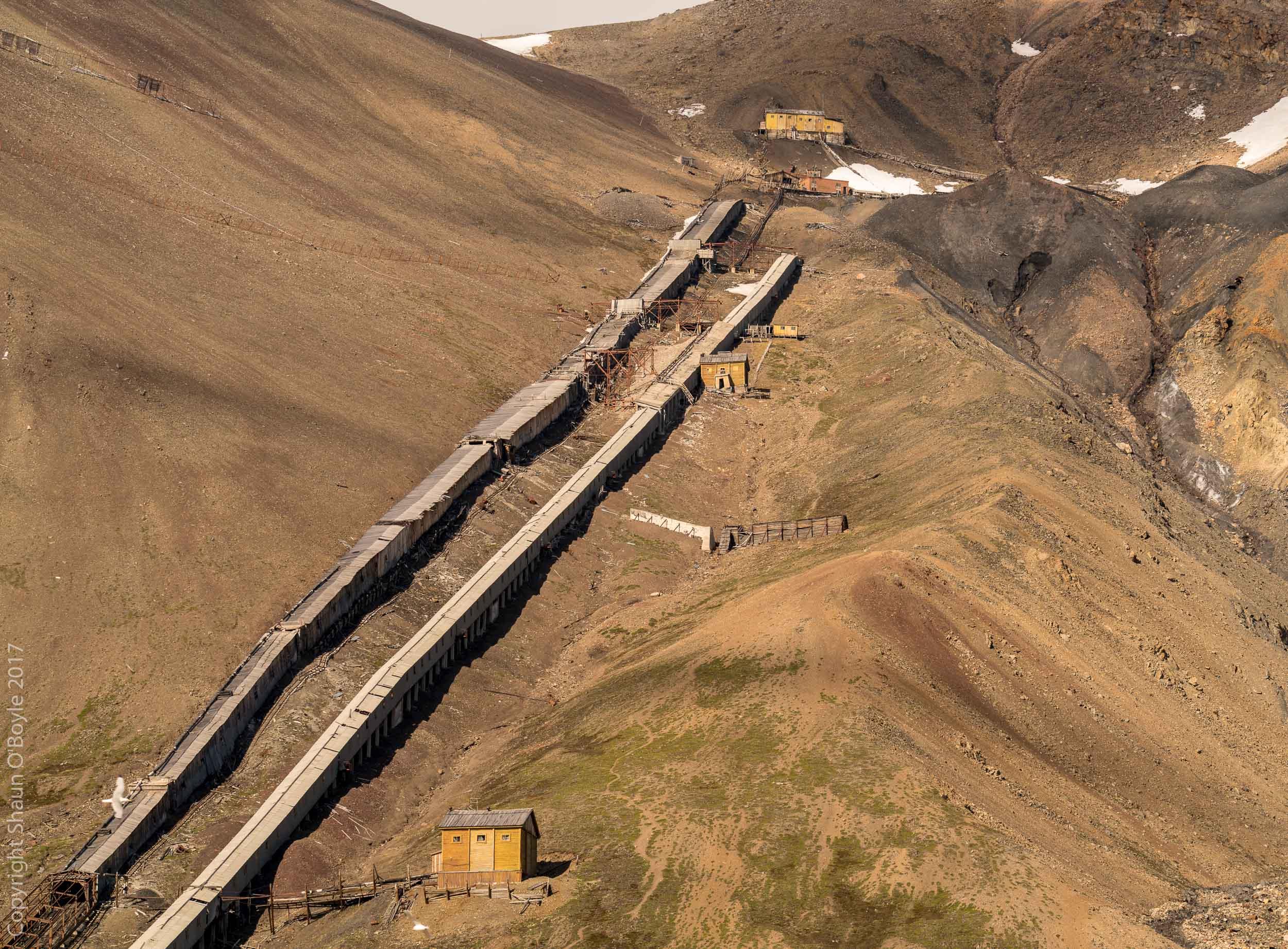 Tramway up Pyramiden Mountain to the coal mine entrances, Pyramiden, Svalbard