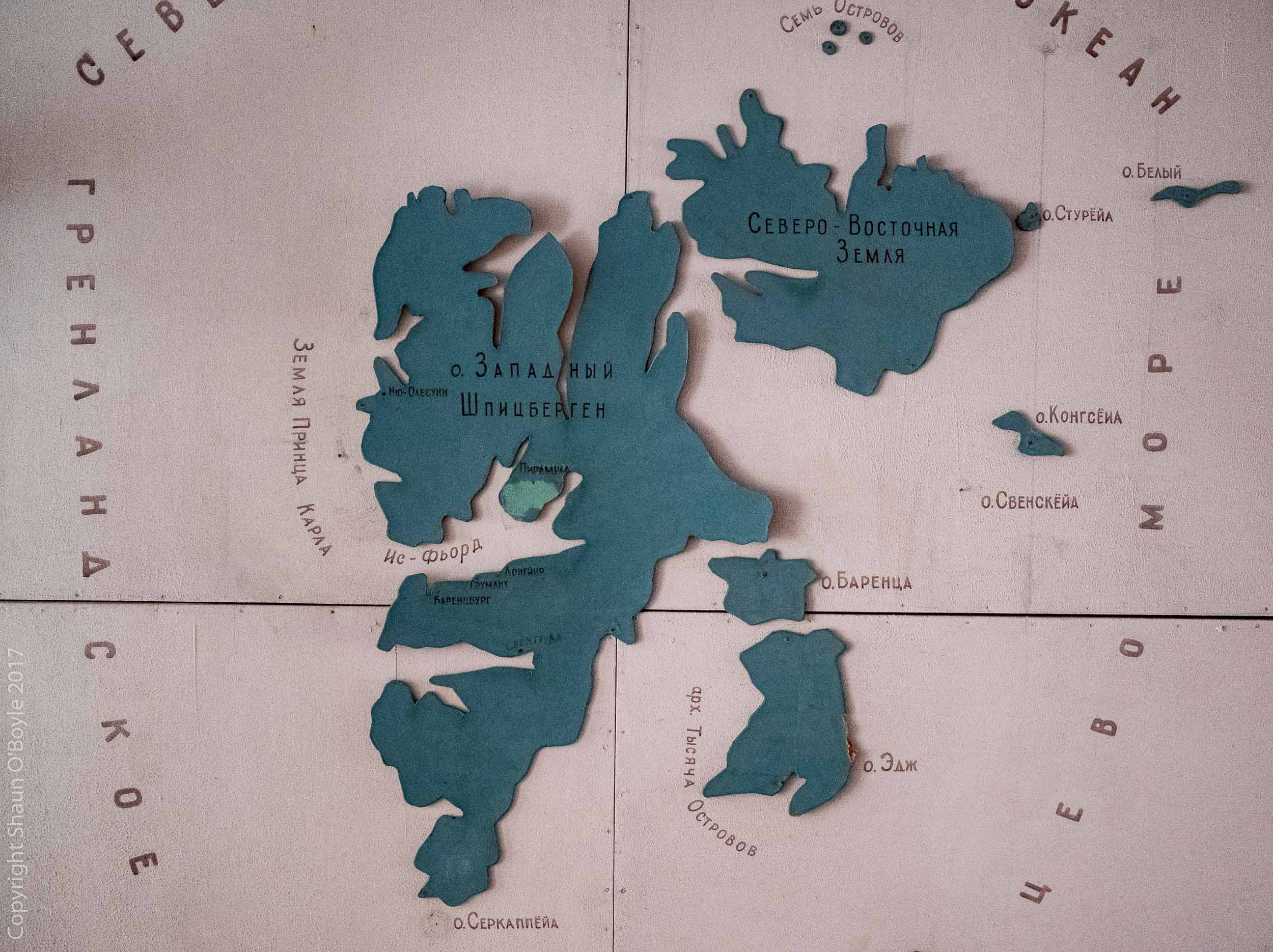 Map of Svalbard Archipelago, Pyramiden, Svalbard