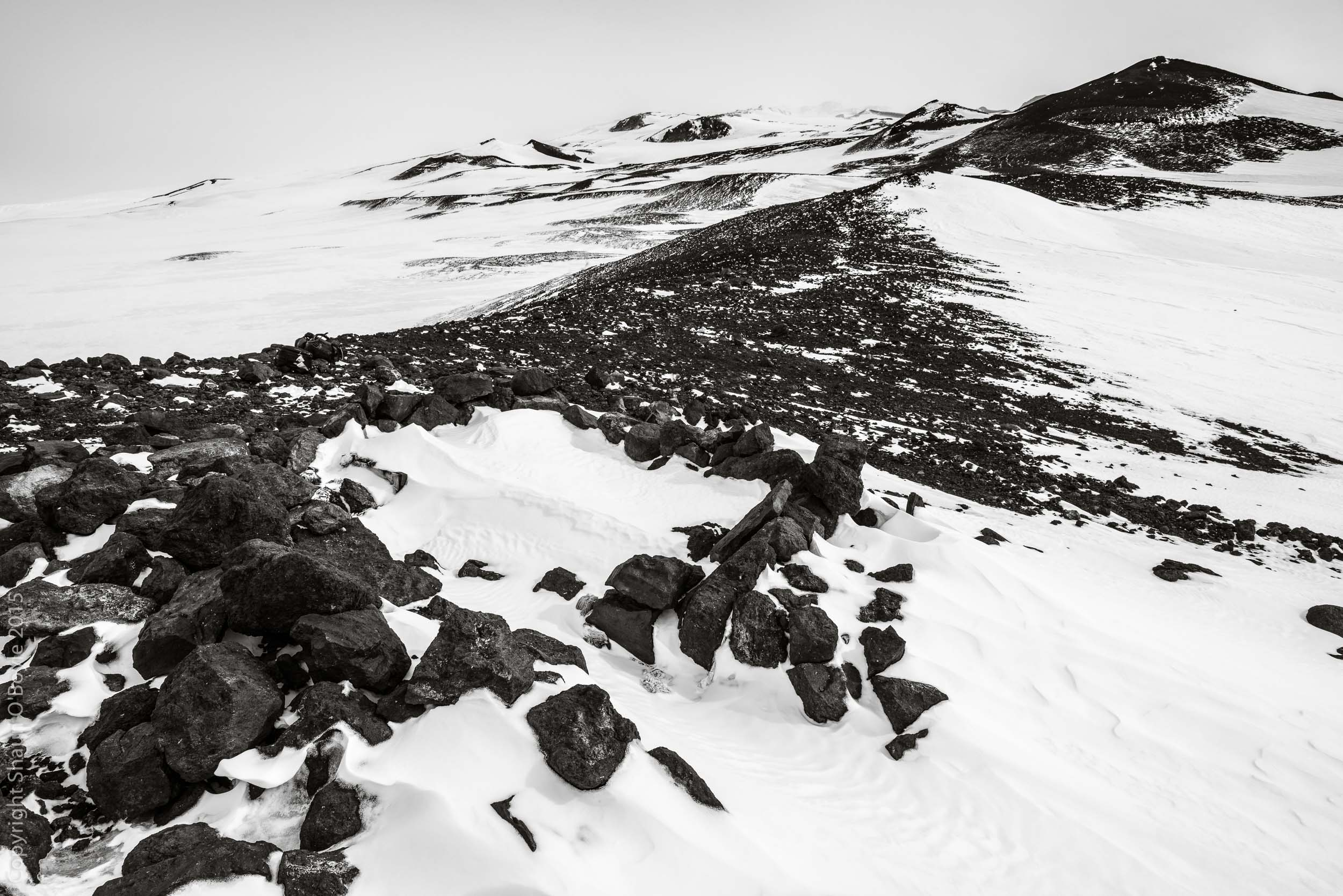 Wilson's Stone Igloo and the slopes of Mout Terror, Cape Crozier, Ross Island, Antarctica