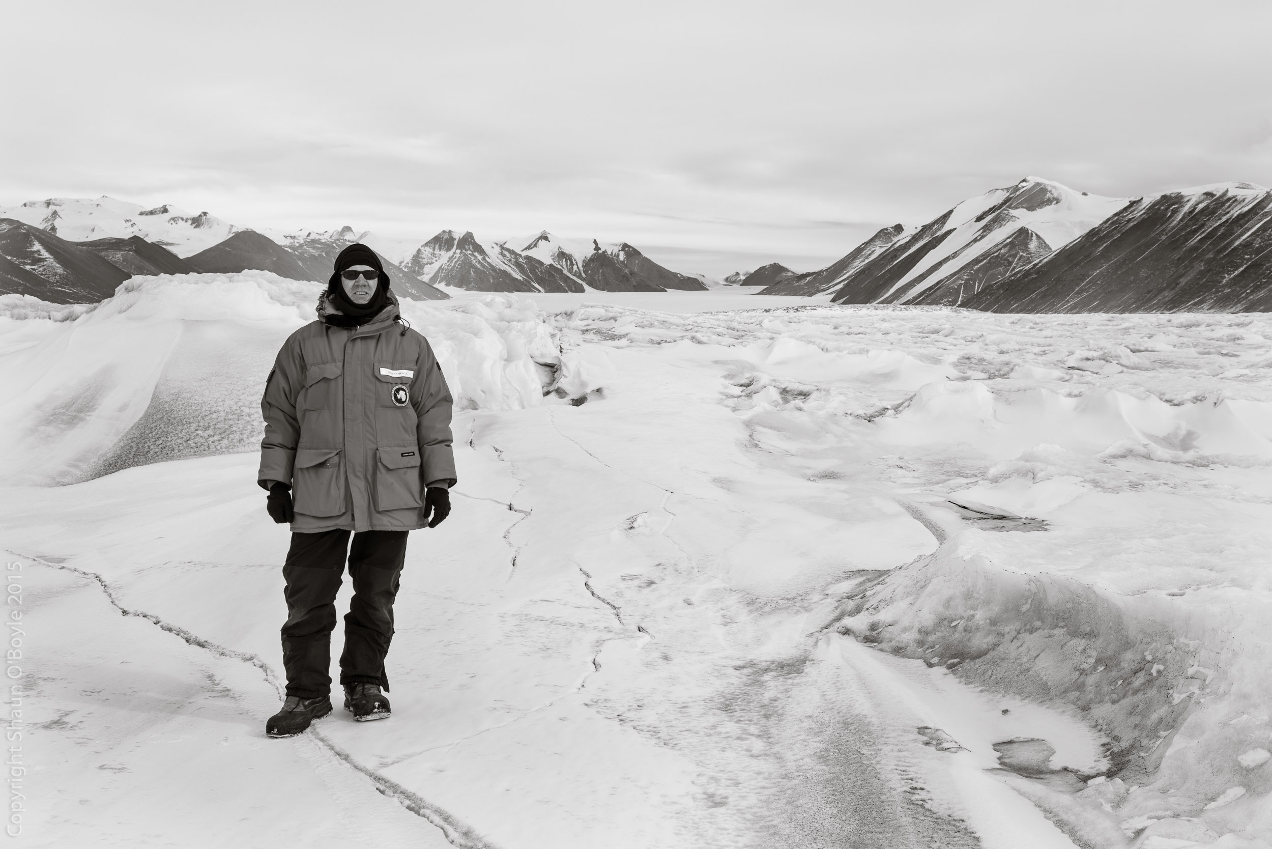 Your truely on the sea ice as we approach the Ferrar Glacier area