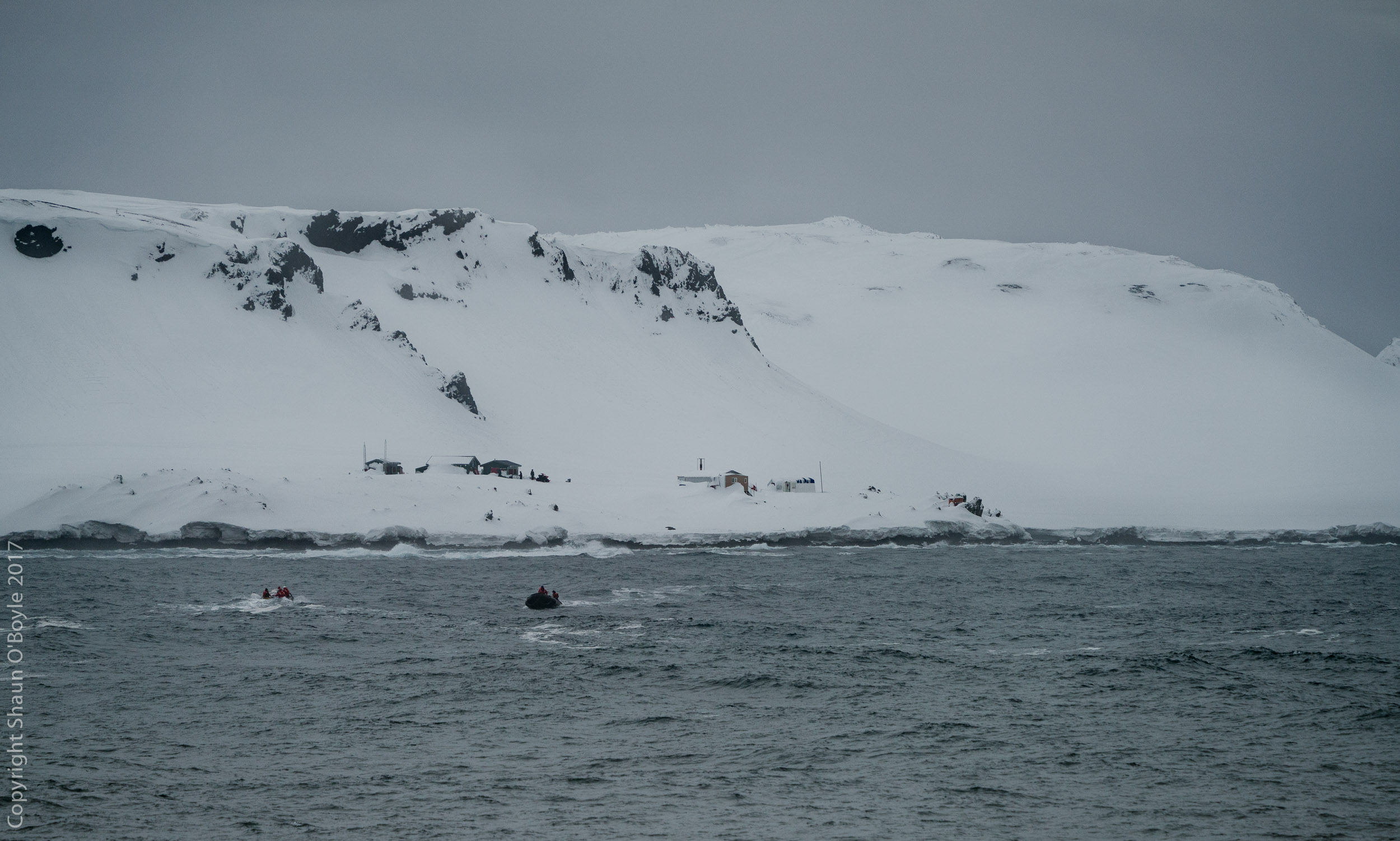 Marine Techs unload 6 months supplies and four researchers in rough seas, Cape Shirreff, South Shetland Islands.