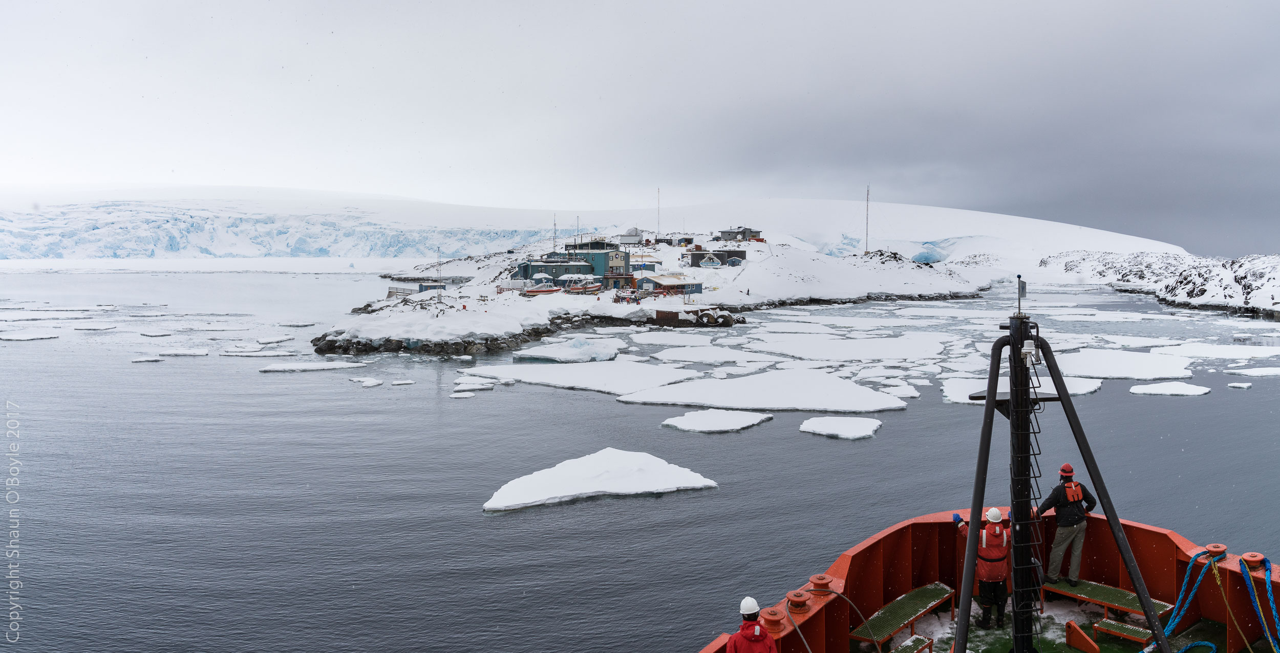 The icebreaker Laurence M. Gould approaching Palmer Station