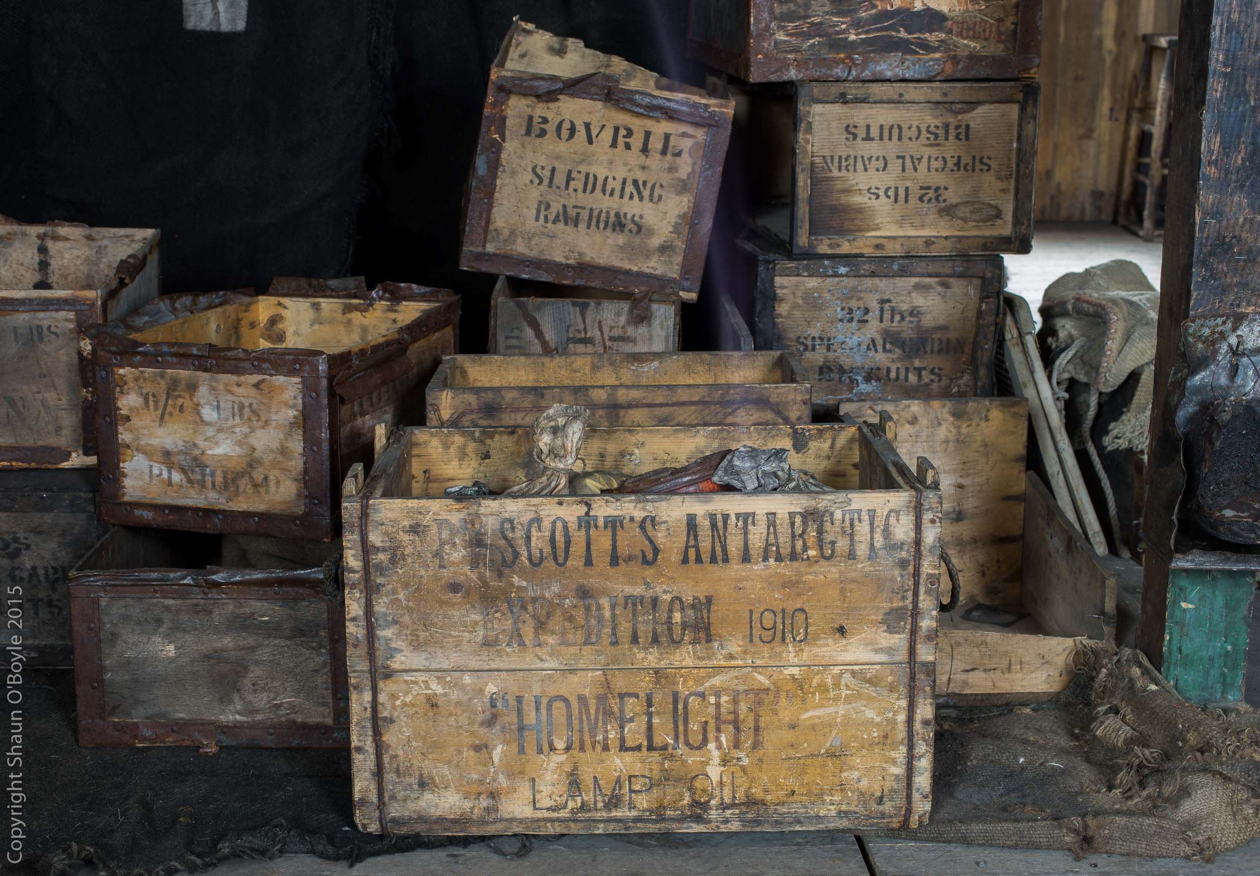 Supply cases brought to Discovery Hut from the Terra Nova hut at Cape Evans.