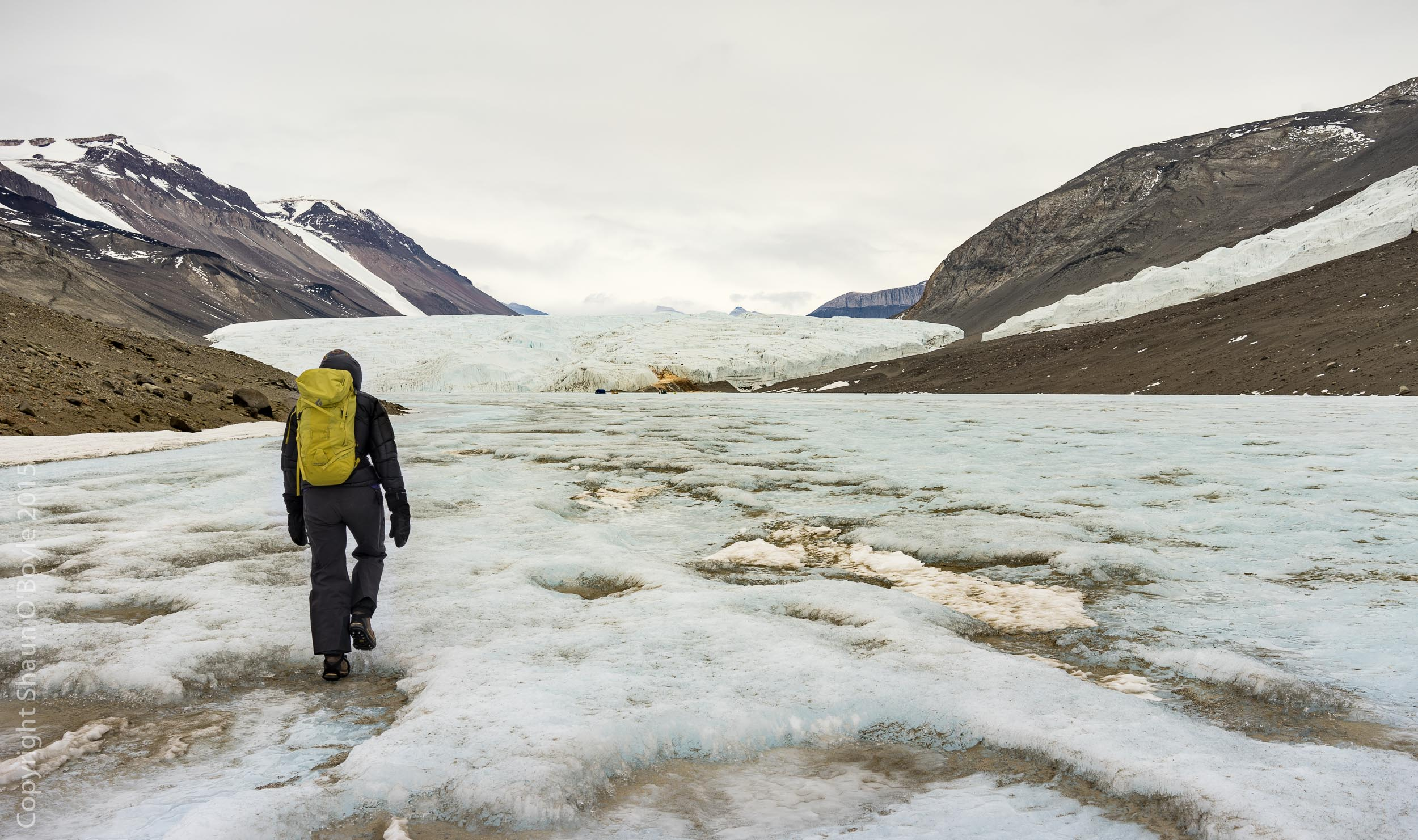 Trekking on Lake Bonney toward the Taylor Glacier. This is the glacier that Scott decended and discovered the first  ice free Dry Valley in 1903.
