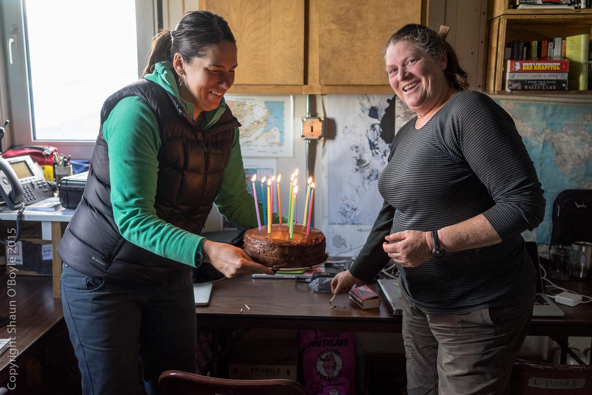 Back at Lake Hoare, Renee Noffke and Rae Spain firing up Thomas Nylen's 50th birthday cake. Rene was my guide through all the trekking in the Taylor Valley, a huge thank you to Rene for taking time from her other duties at Lake Hoare to go trekking throughout the valley.