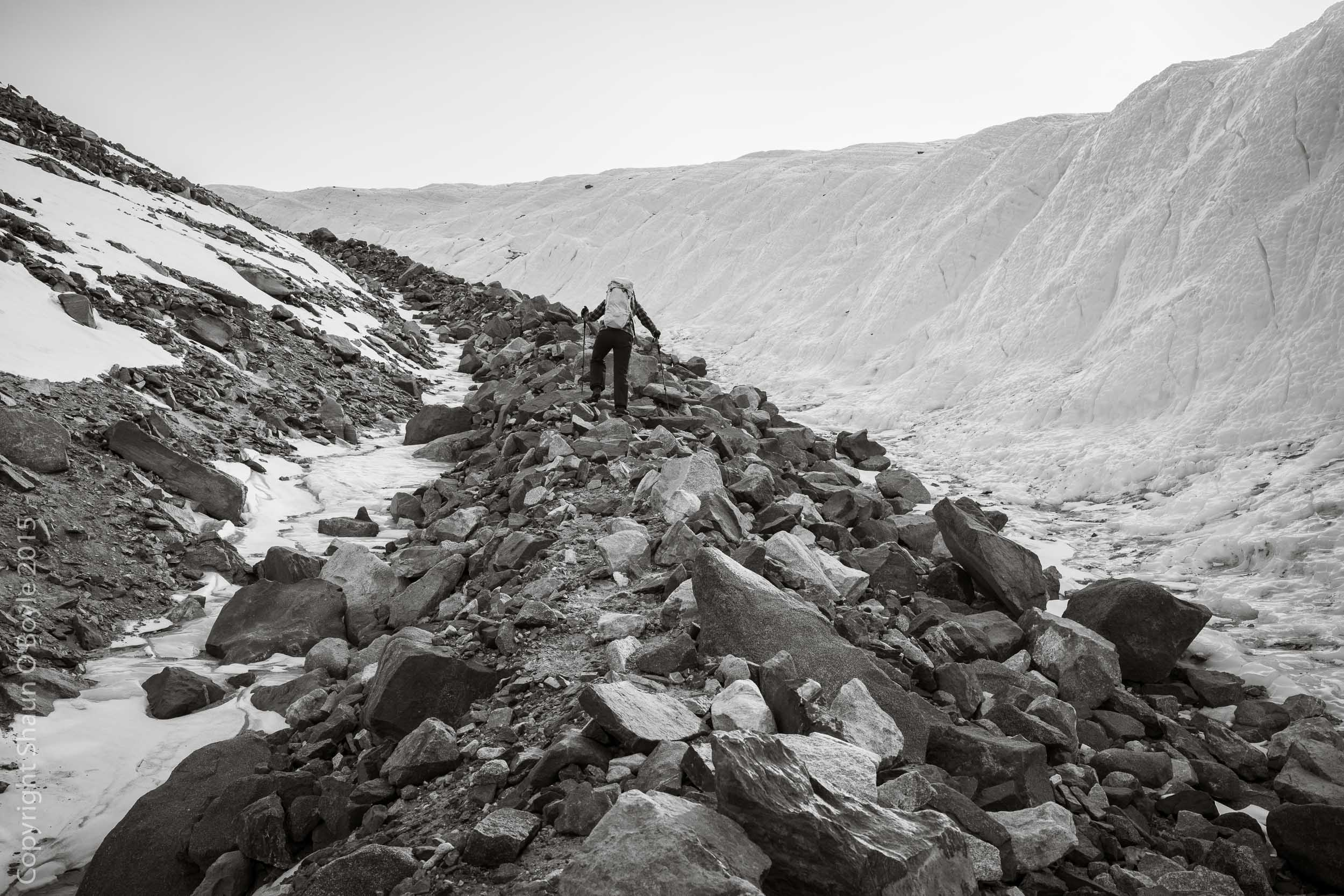 Renee leading up the lateral moraine of the Canada Glacier