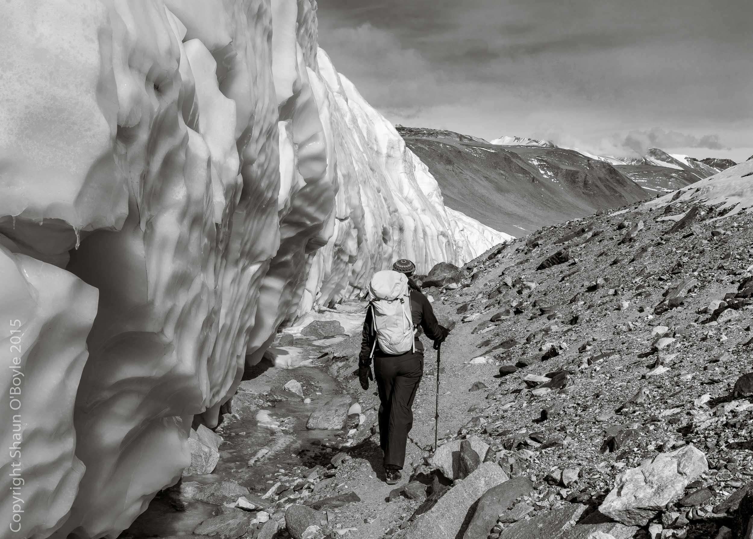 Renee trekking along side of the Canada Glacier