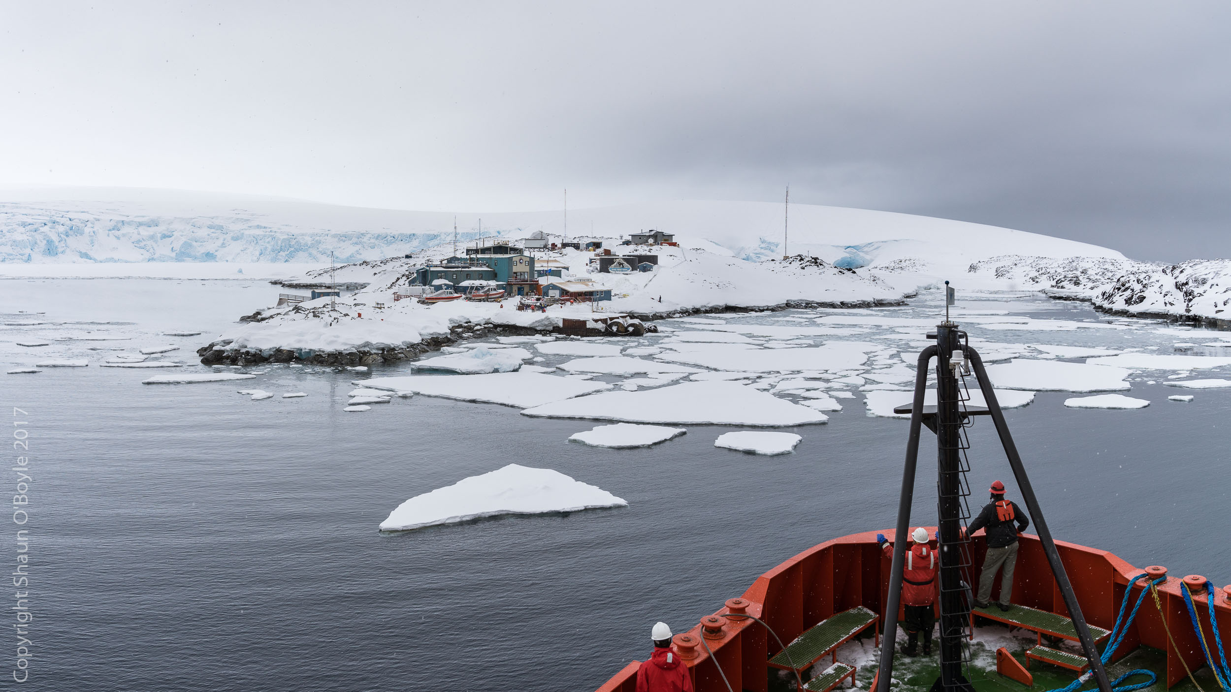 Arriving at Palmer Station on the icebreaker Laurence M. Gould after a four day passage from Punta Arenas, Chile.