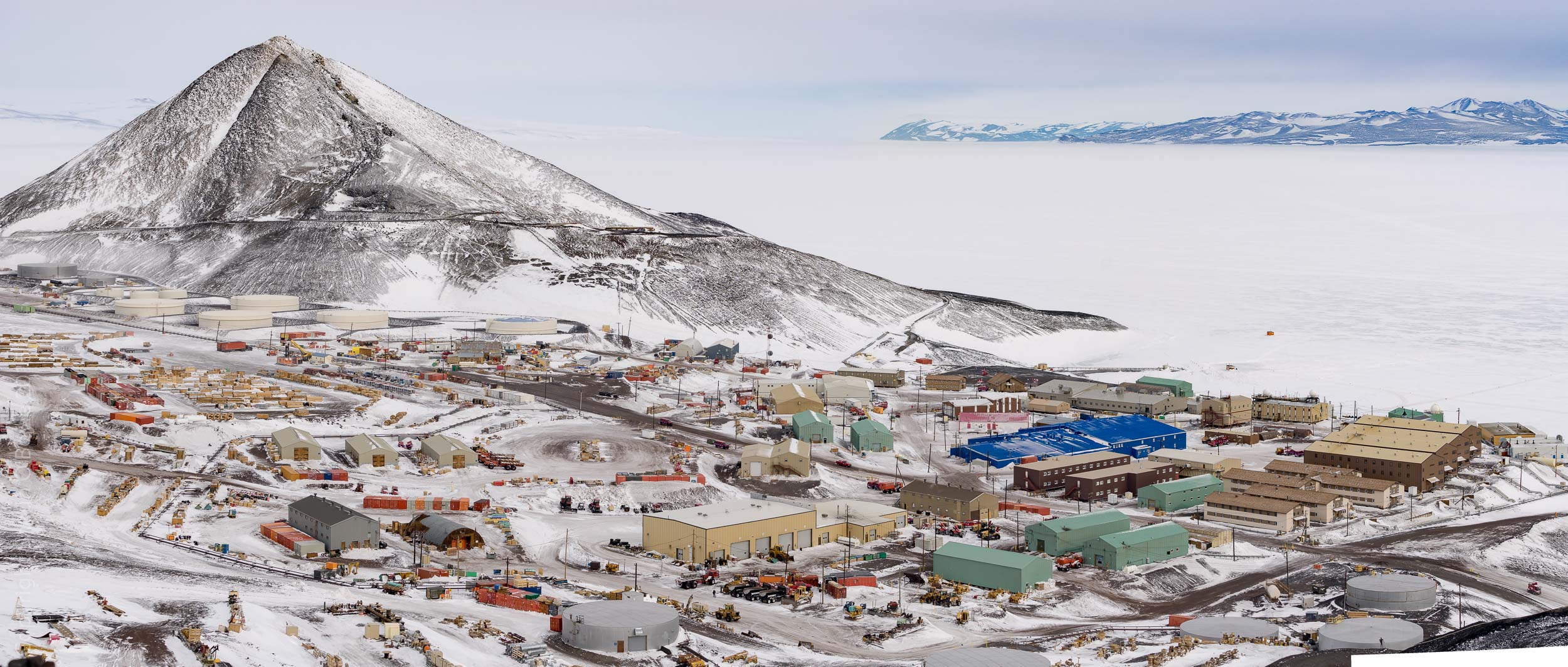 McMurdo Station and Observation Hill from the Hut Point Ridge Loop Trail.