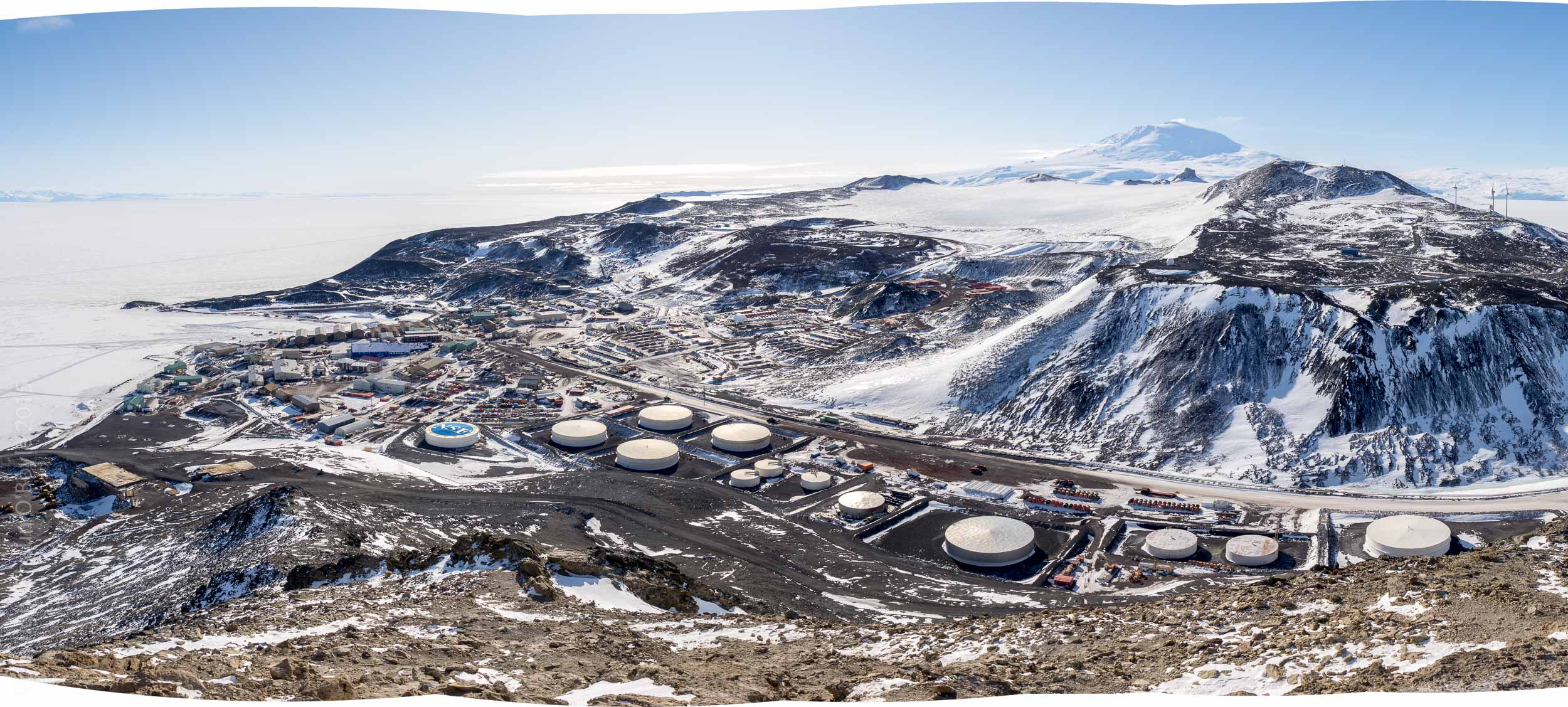 Wide angle panorama of McMurdo from OB Hill showing Hut Point on left and T Site on right.