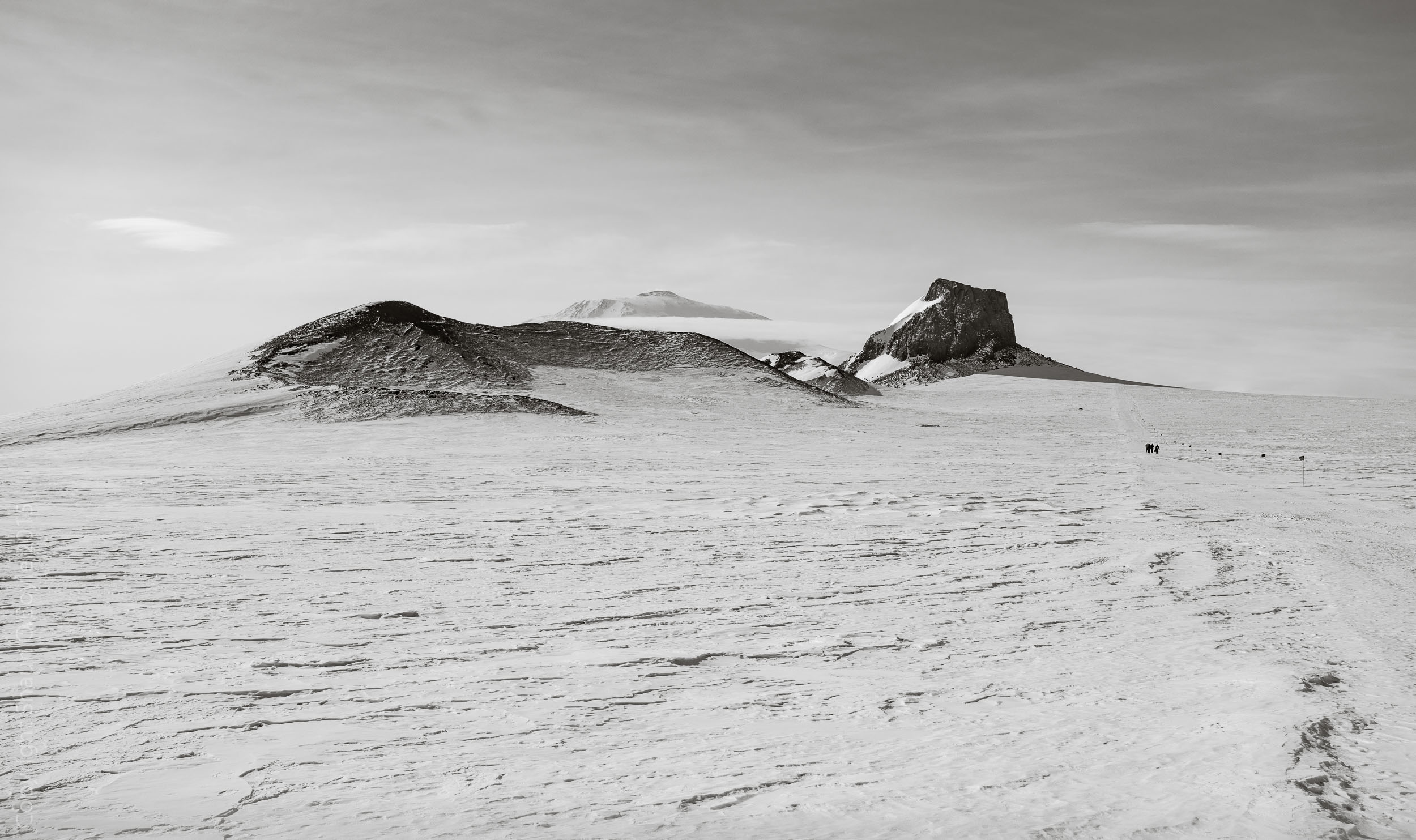 Approaching Castle Rock with Mount Erebus beyond.
