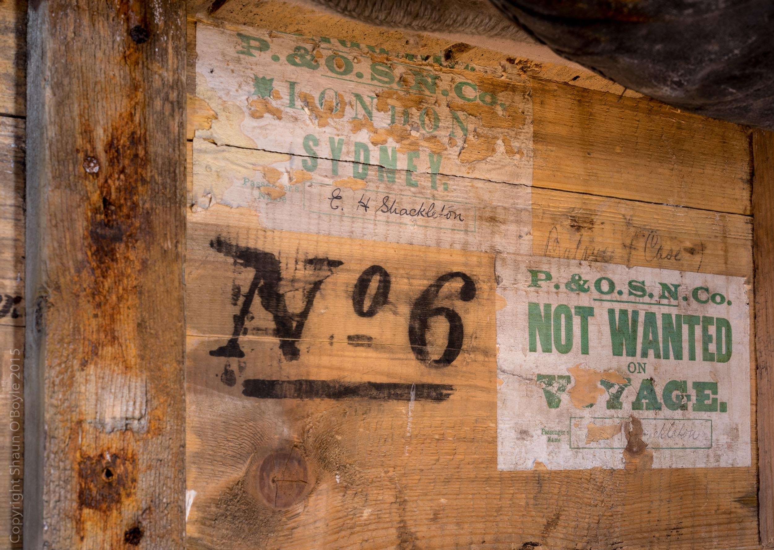 Shackleton's signature on a packing crate box