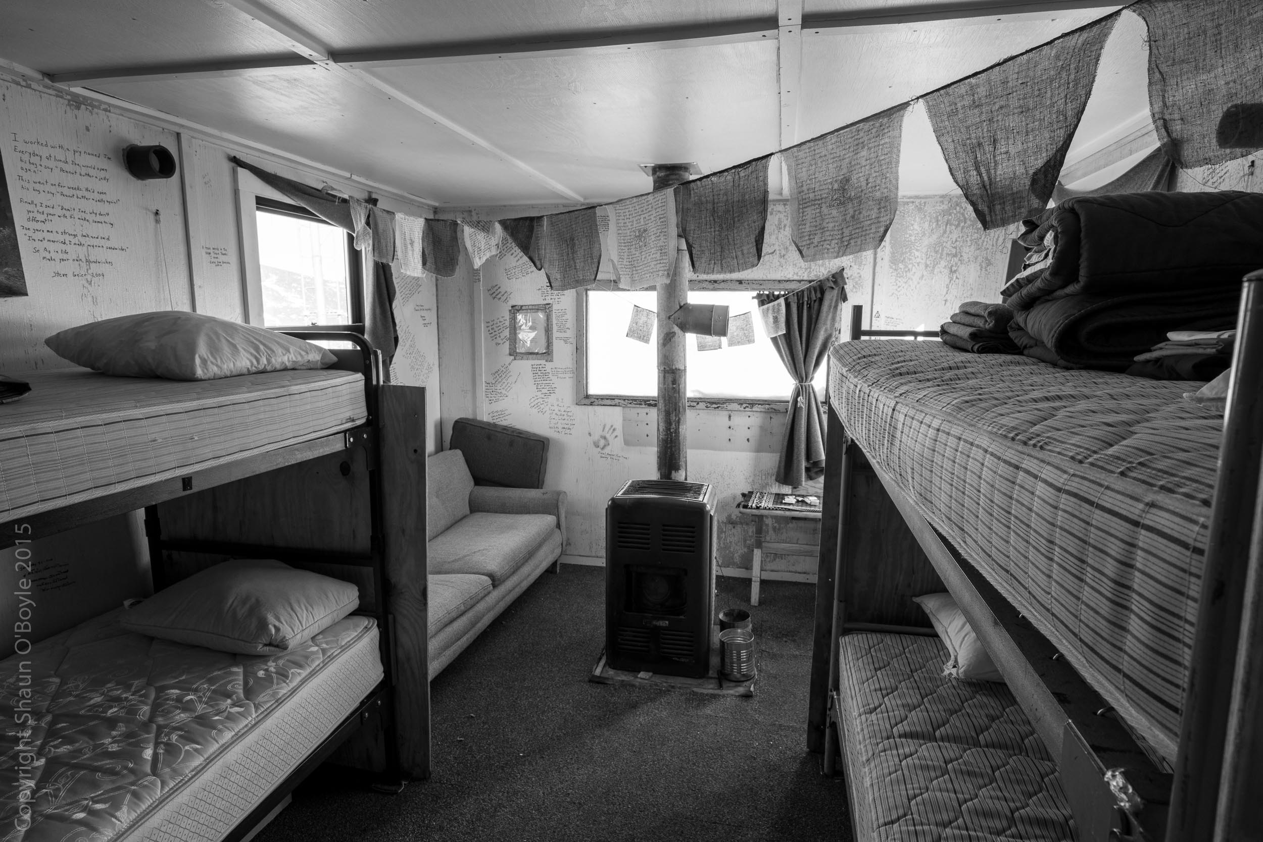 """Well signed bunkhouse at Black Island. If you watch the film """"Antarctica: A Year on the Ice"""" you will see this bunk house when the film maker Anthony Powell visits Black Island in the winter.The entire inside of this bunk house is filled with snow and ice from high winds and storms."""