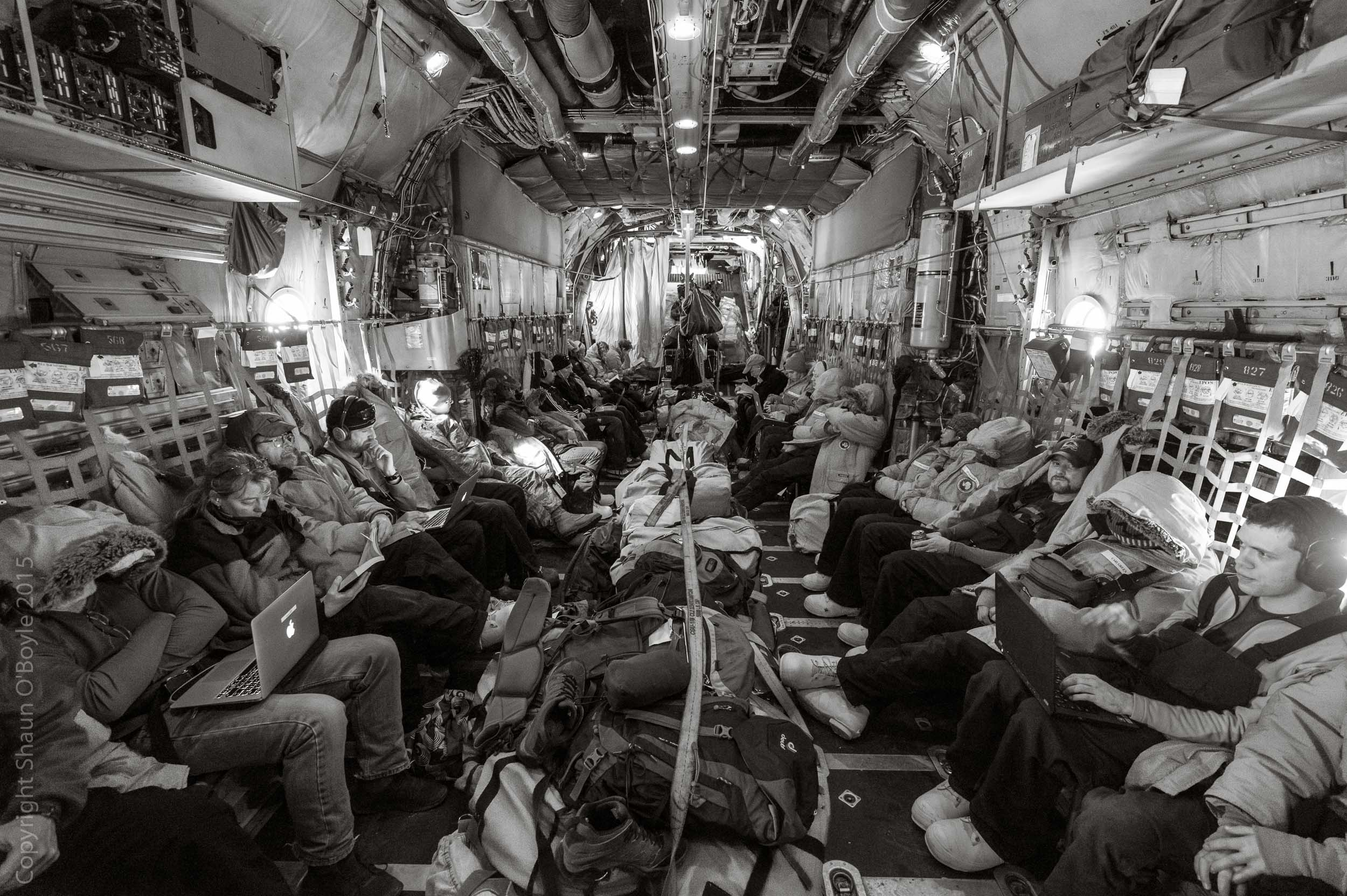 7 hour flight from McMurdo to Christchurch New Zealand in the LC-130