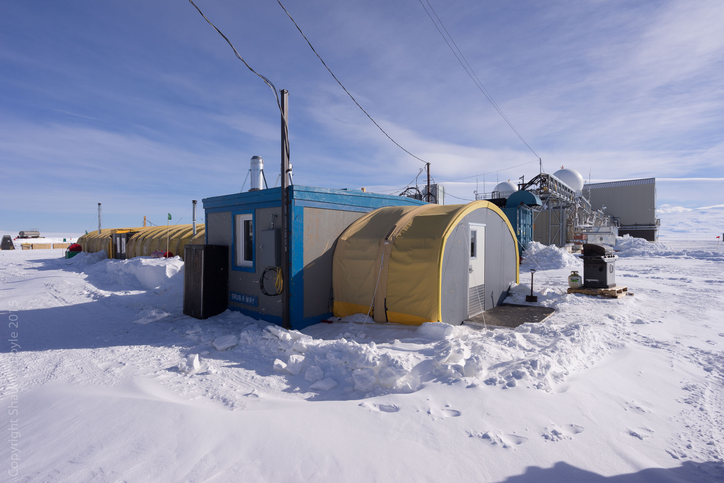 LDB galley and office space for NASA and other personnel. Unlike other field camps in Antarctica, LDB is close enough to McMurdo Station for personal to commute to the site each day.