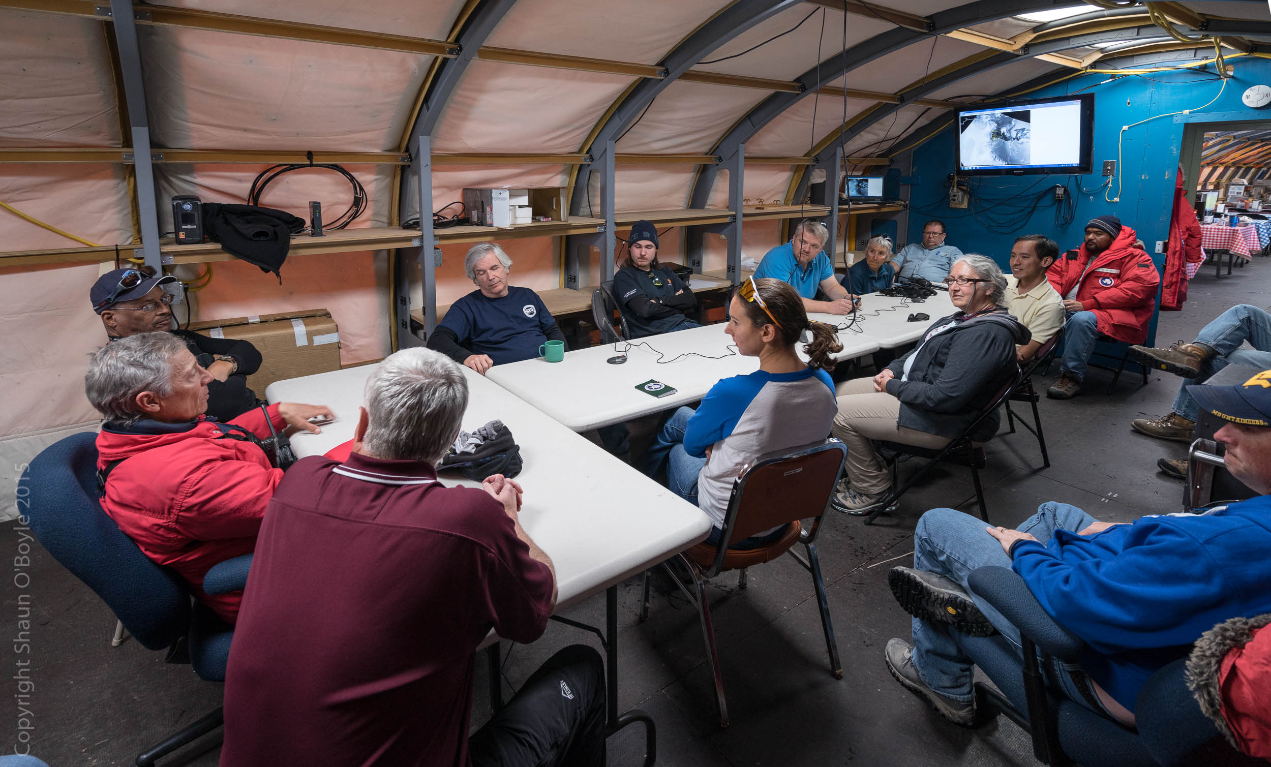 LDB meeting to discuss project status and get an update on the weather forecast. The launch window is heavily dependent on the circumpolar vortex, a weather pattern that sets in  which can carry a balloon around the circumferance of Antarctic and return it close to the launch location for retrieval.