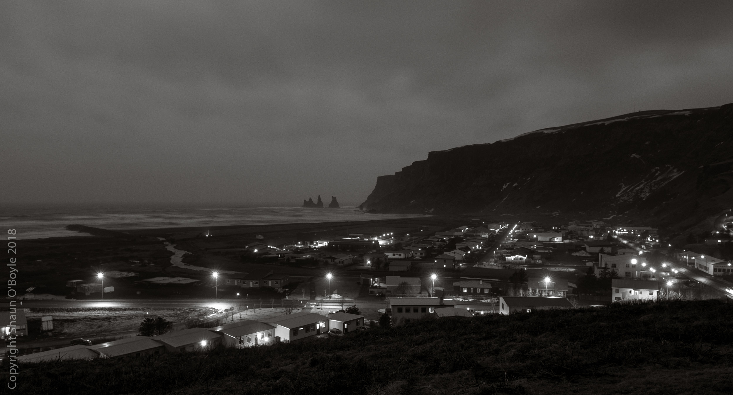 Vik, Iceland at night from the church