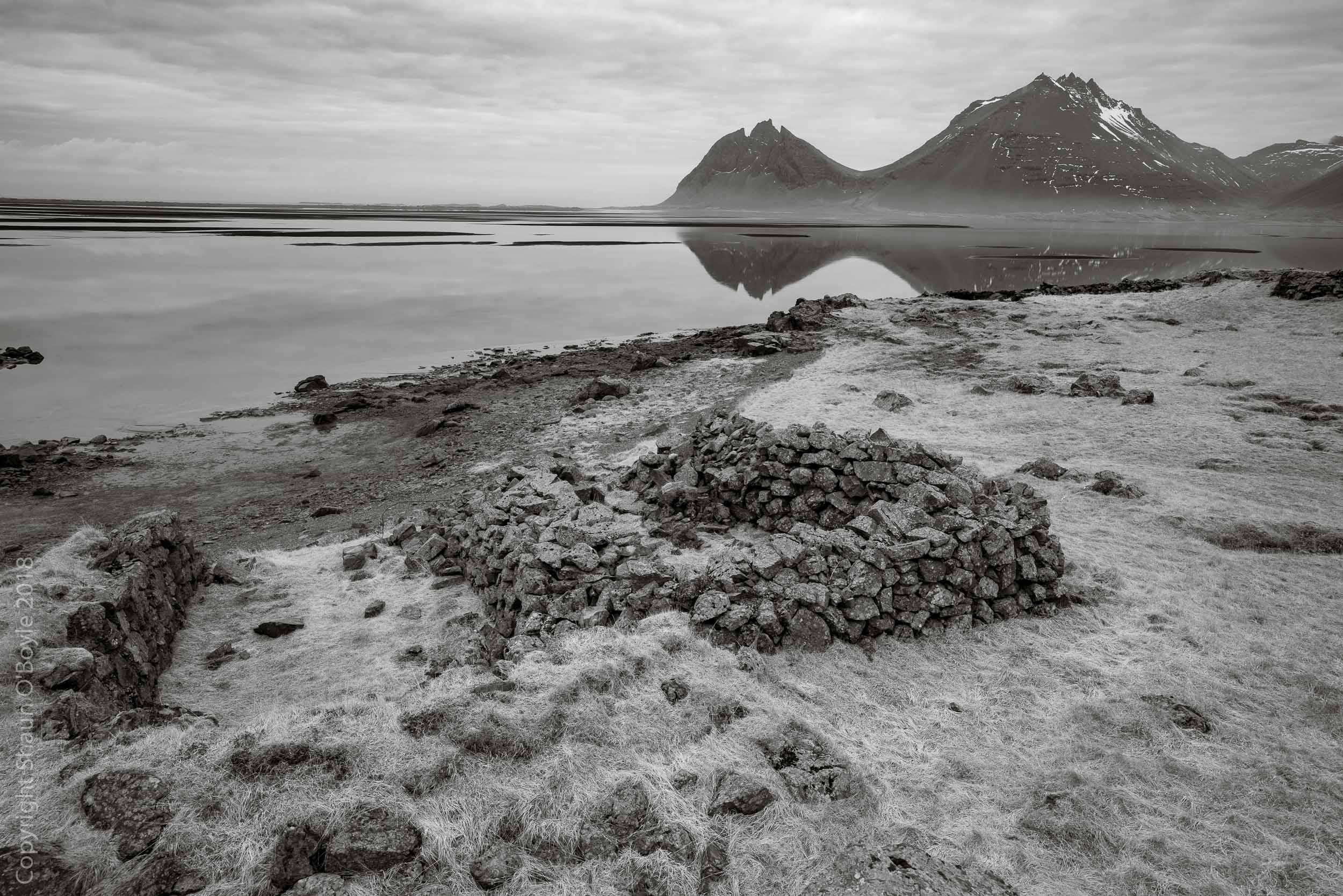 Old stone fishing huts at Klif, Iceland