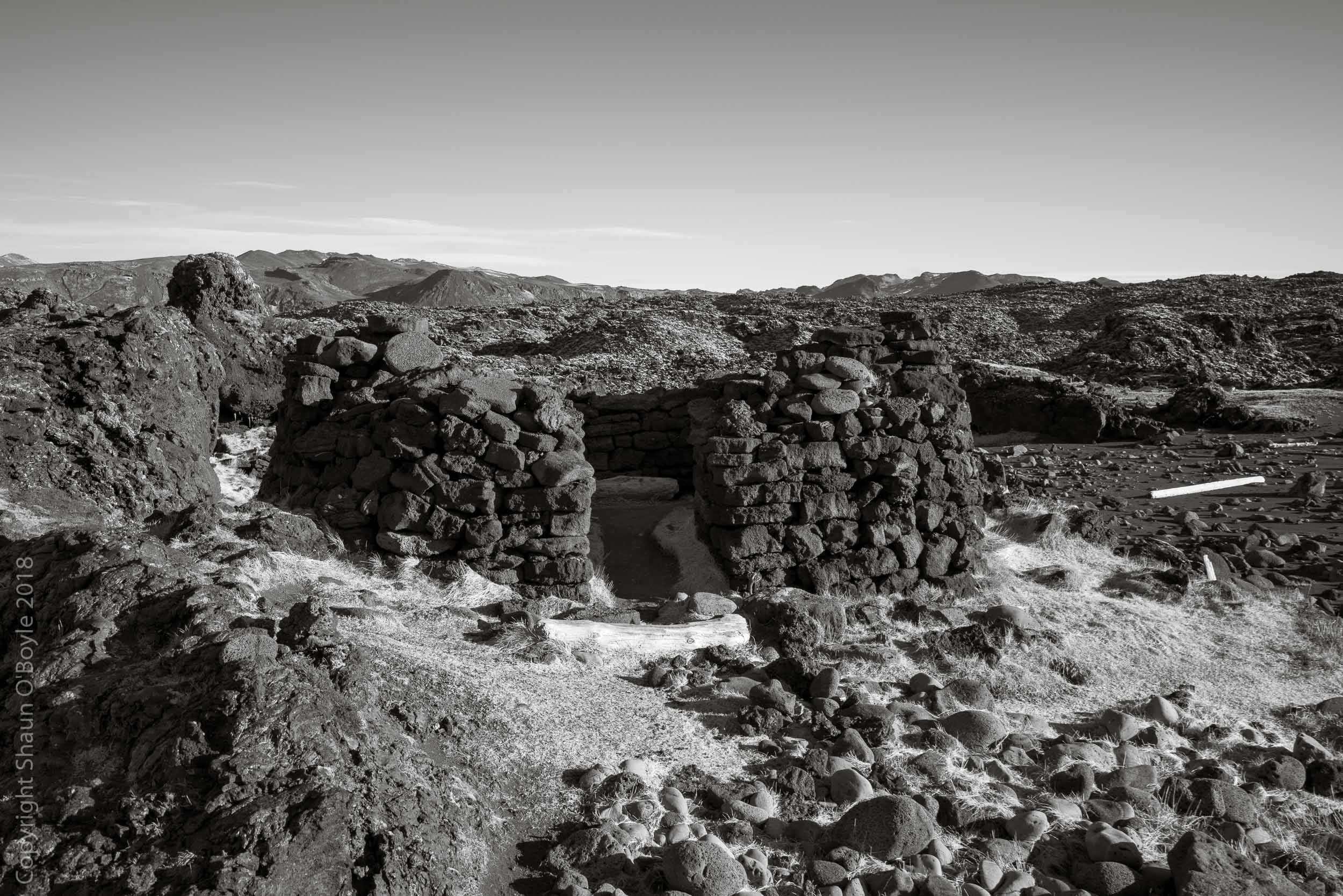 Fish hut in an old lava field at Selatangar, Iceland, a coastal fishing station used since the Middle Ages and said to be haunted by a ghost named Tanga-Tomas.