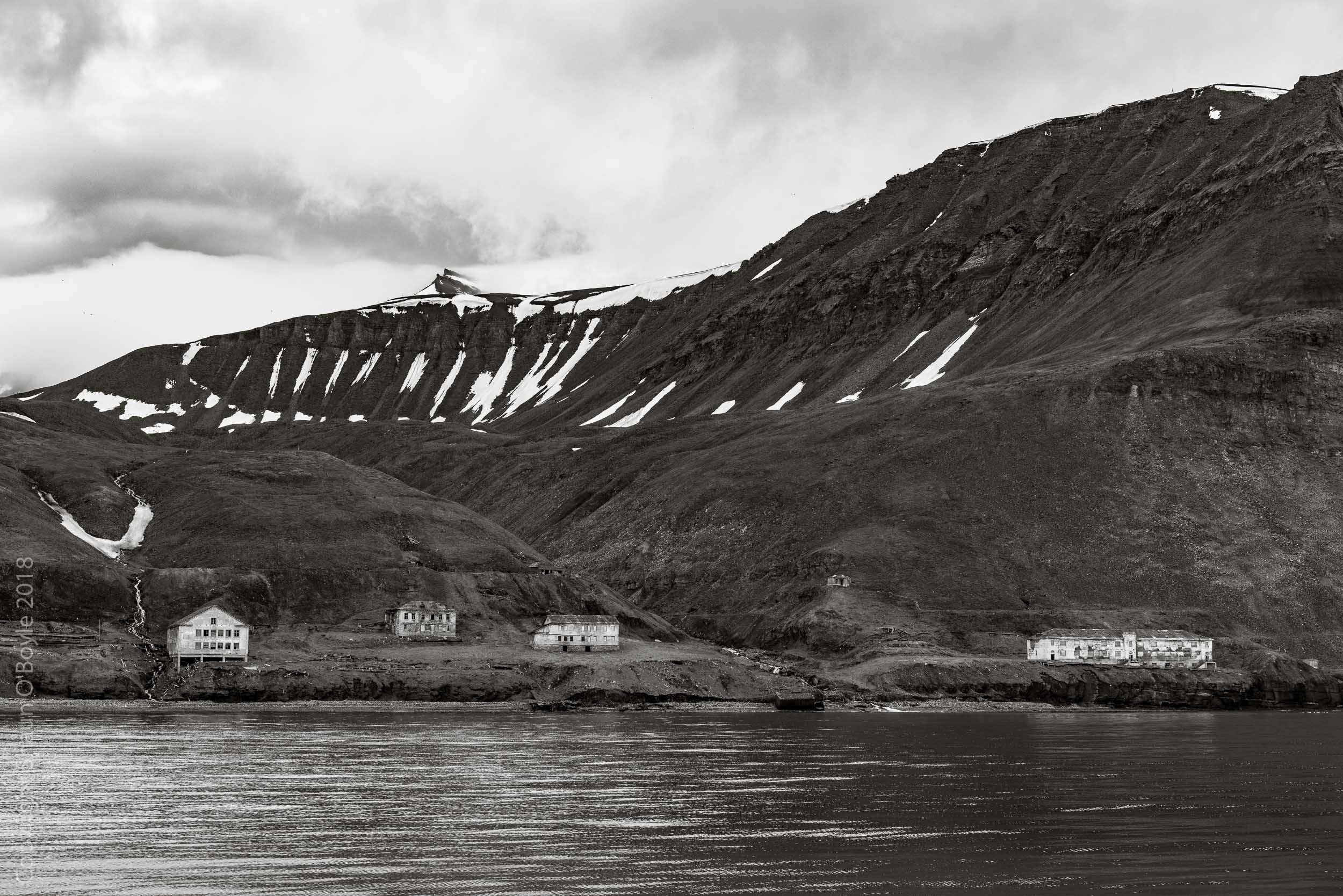 Former Russian settlement of Grumant from Isfjorden