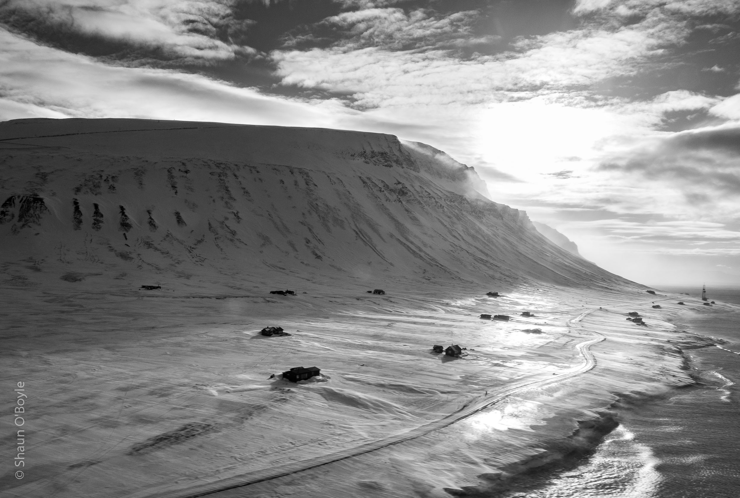 Vestpynten, Spitsbergen on approach to Longyeabyen
