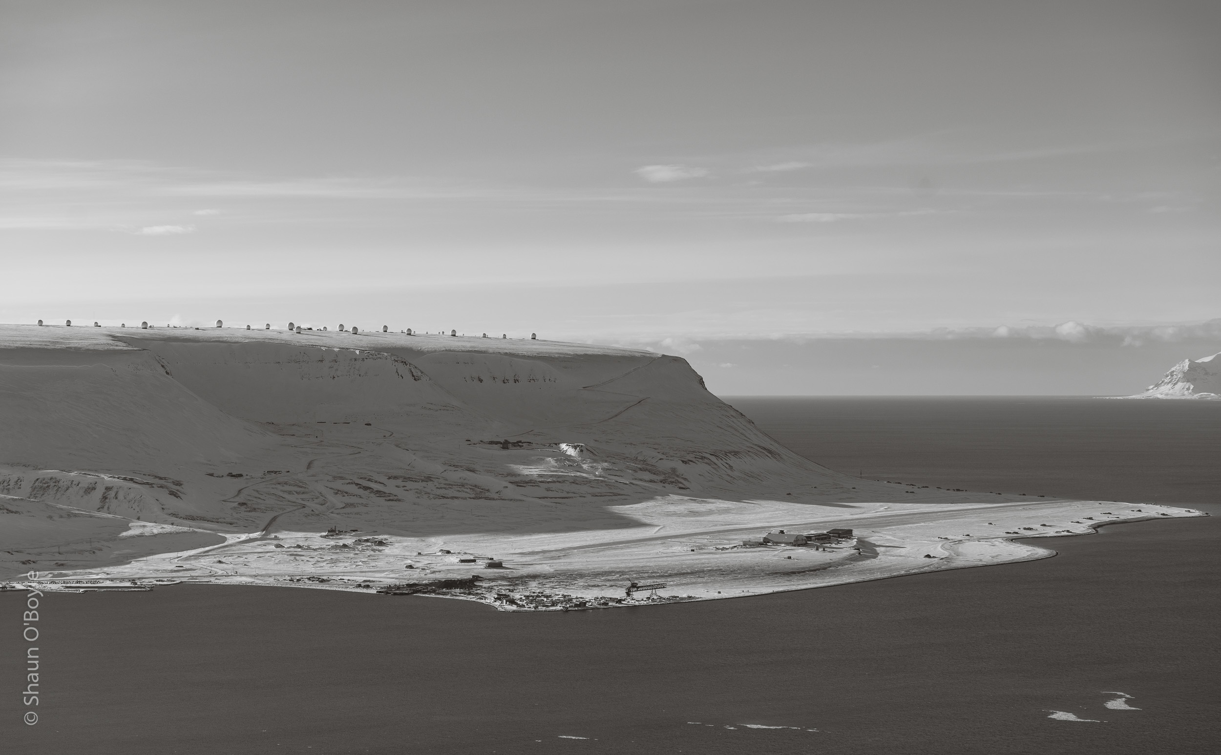 Spitsbergen airport, and large satellite dome array