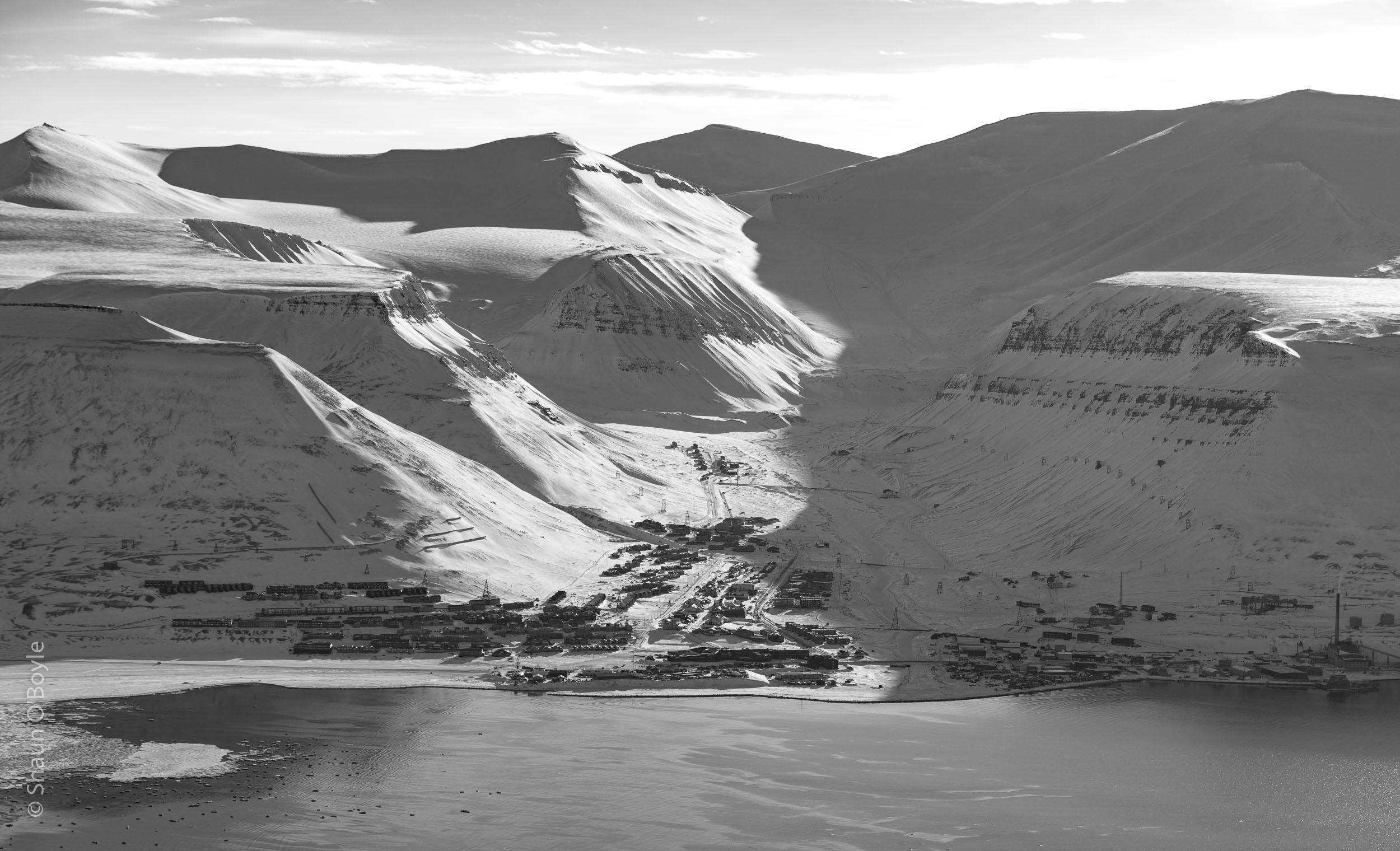 Longyearbyen, Svalbard's largest settlement, from Hiorthfjellet