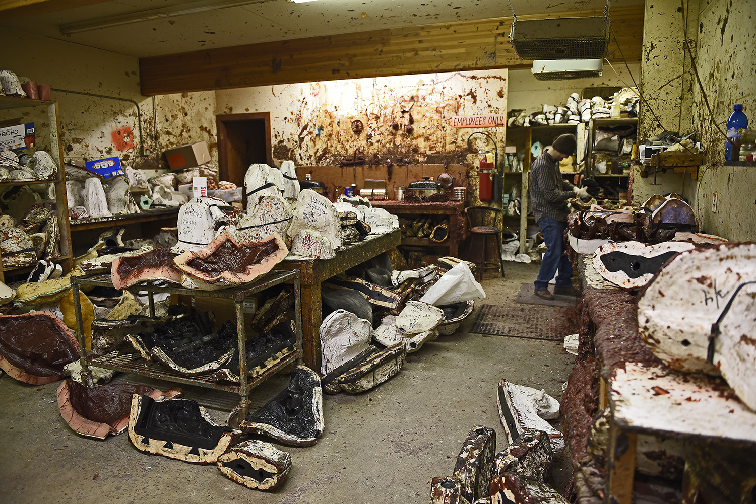 This the wax room: - Soft, flexible molds are encased and protected by a hard shell of Plaster of Paris so that they keep their form.