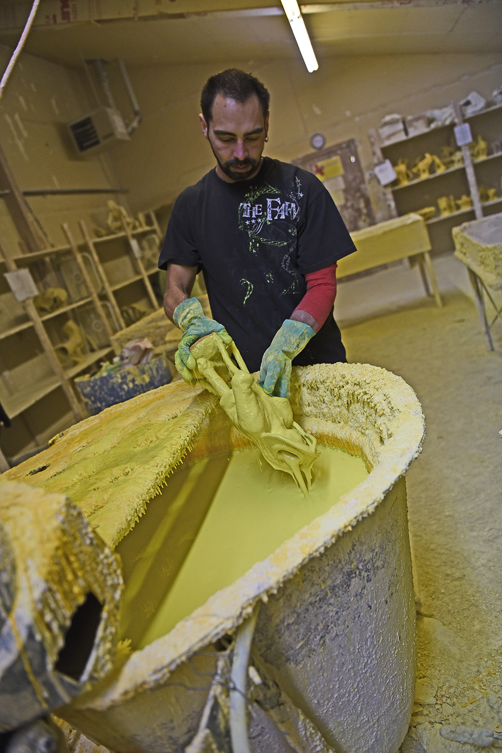"""Layers invested: - This stage is called the """"investment"""" as layers and layers are built-up to create a ceramic coating on the wax. This shell needs to be strong enough to hold the molten bronze during the pour."""