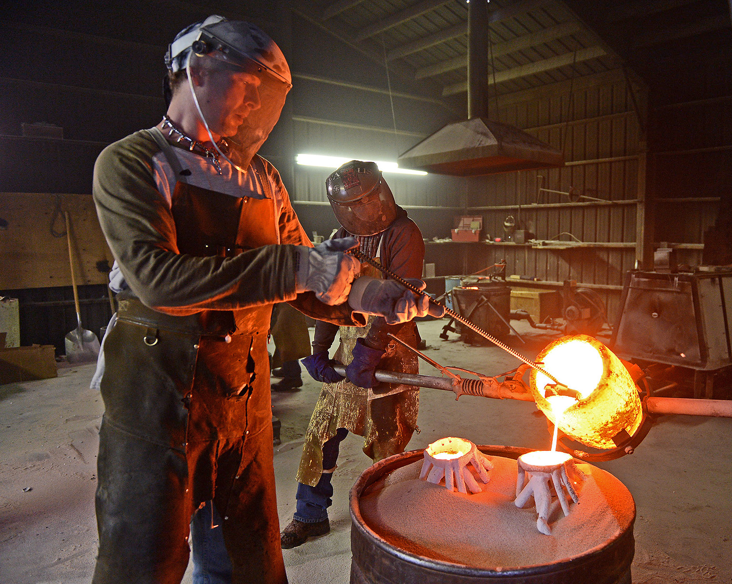 The pour: - The most dramatic stage of all is when the molten bronze is poured into the investment shells to form the cast, and a sculpture is born. It is a loud, hot and ancient rite... dating back 6,000 years.