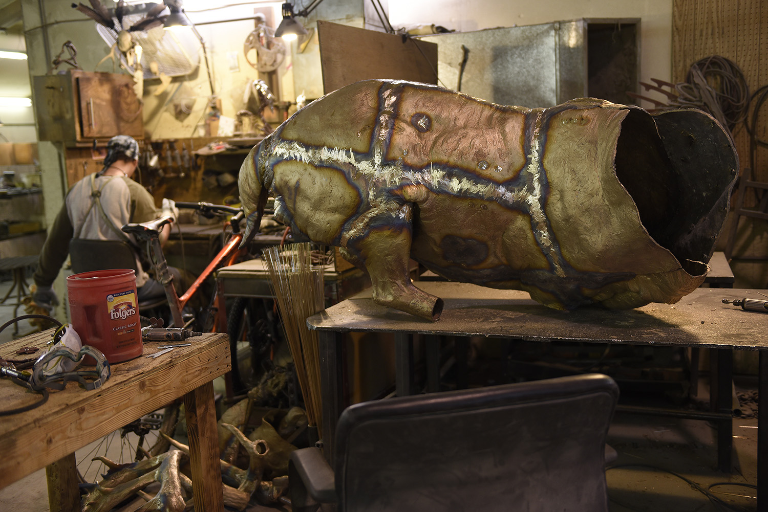 Perfect seams:  - Larger sculptures are cast in panels that are then welded together in the metal room. Every weld will need to be chased with grinding and sanding tools until it is seamless and smooth so that that artist's original work is presented.