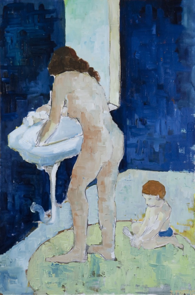 """At the Bath :: 30""""x20"""" :: oil and charcoal"""