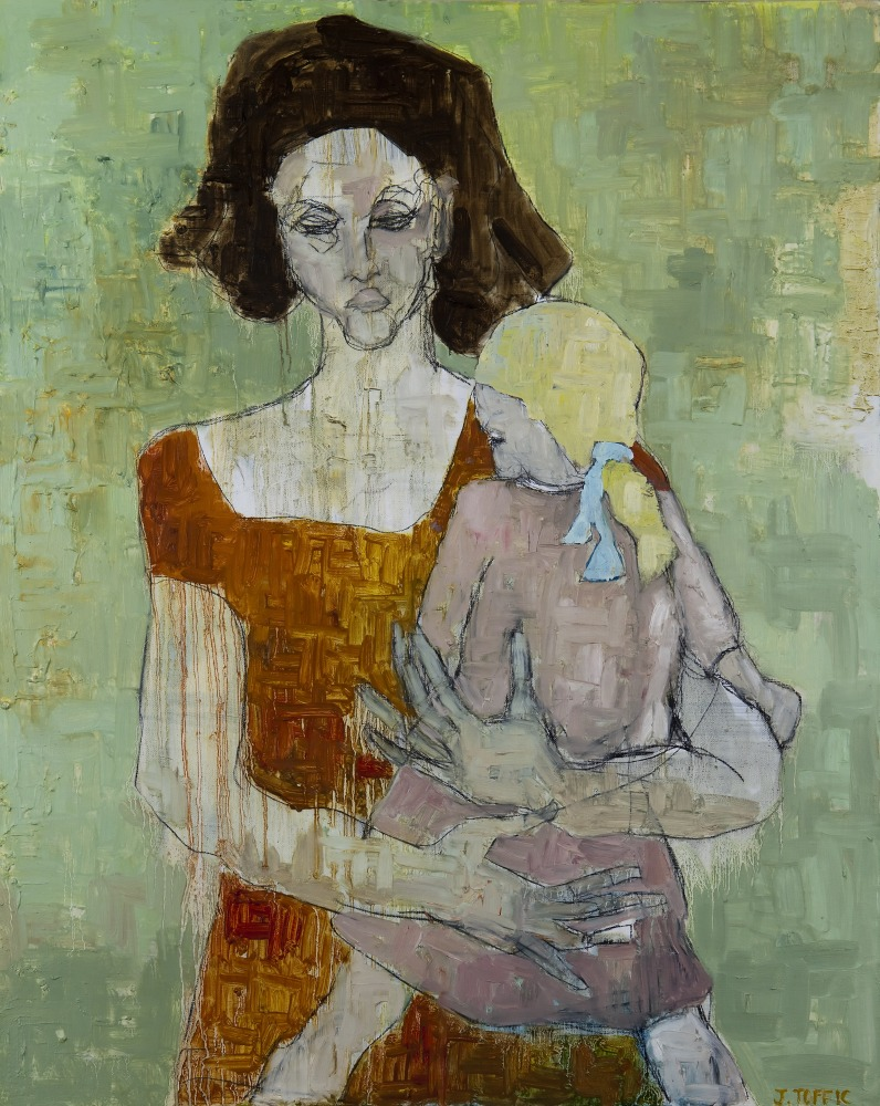 """Egon's Mother :: 30""""x24"""" :: oil and charcoal :: in shop"""