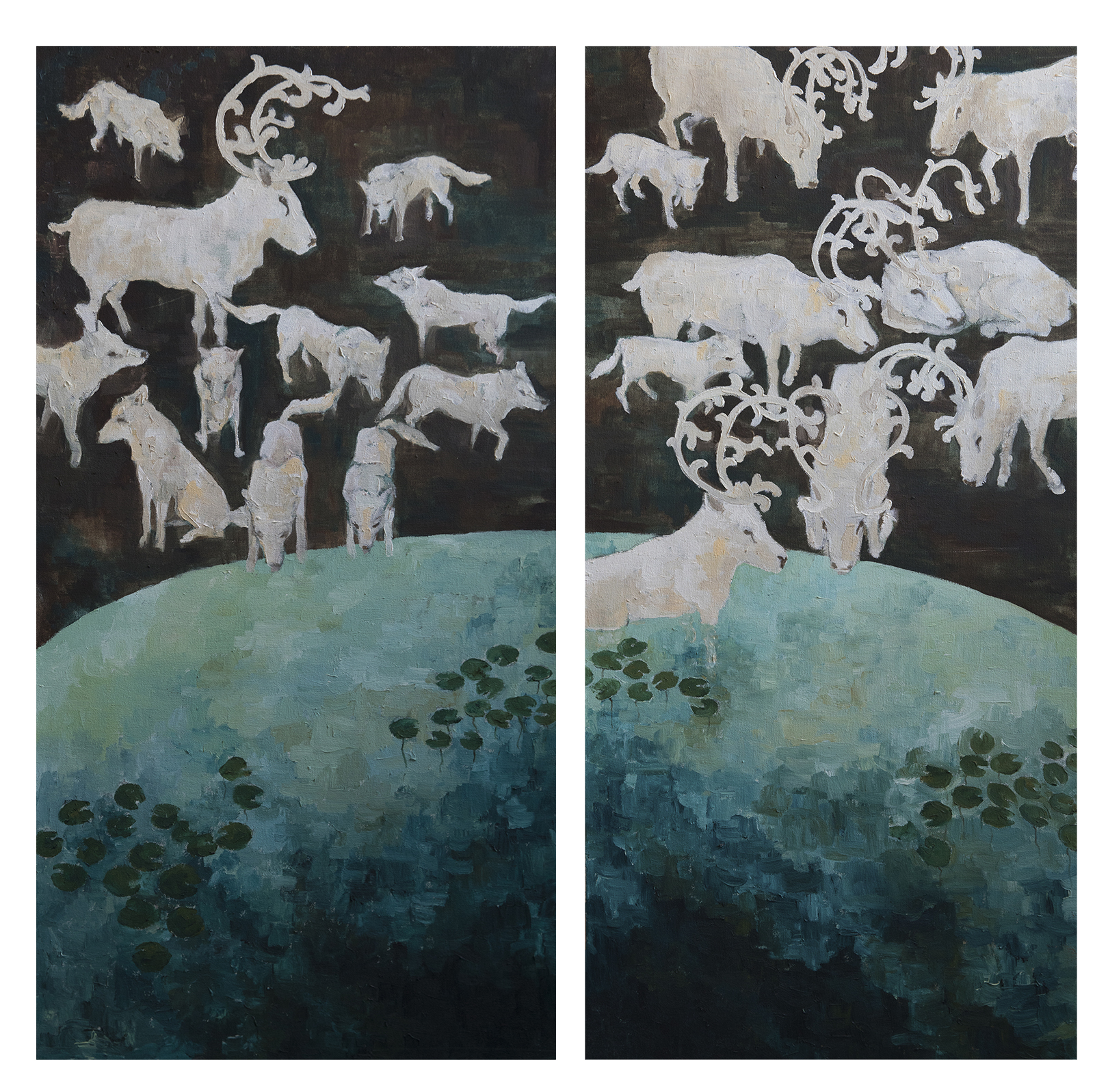 "The Penitent Ones (diptych) :: 44""x48"" :: oil on canvas"