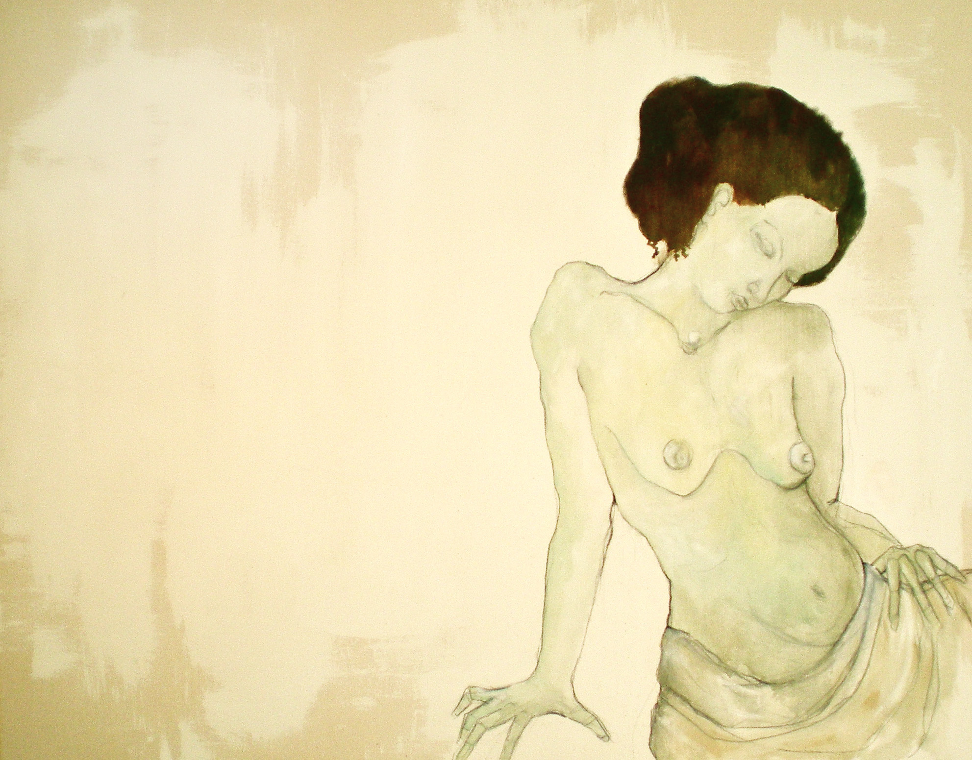 """Seraphina :: 38""""x48"""" :: oil and charcoal on canvas"""