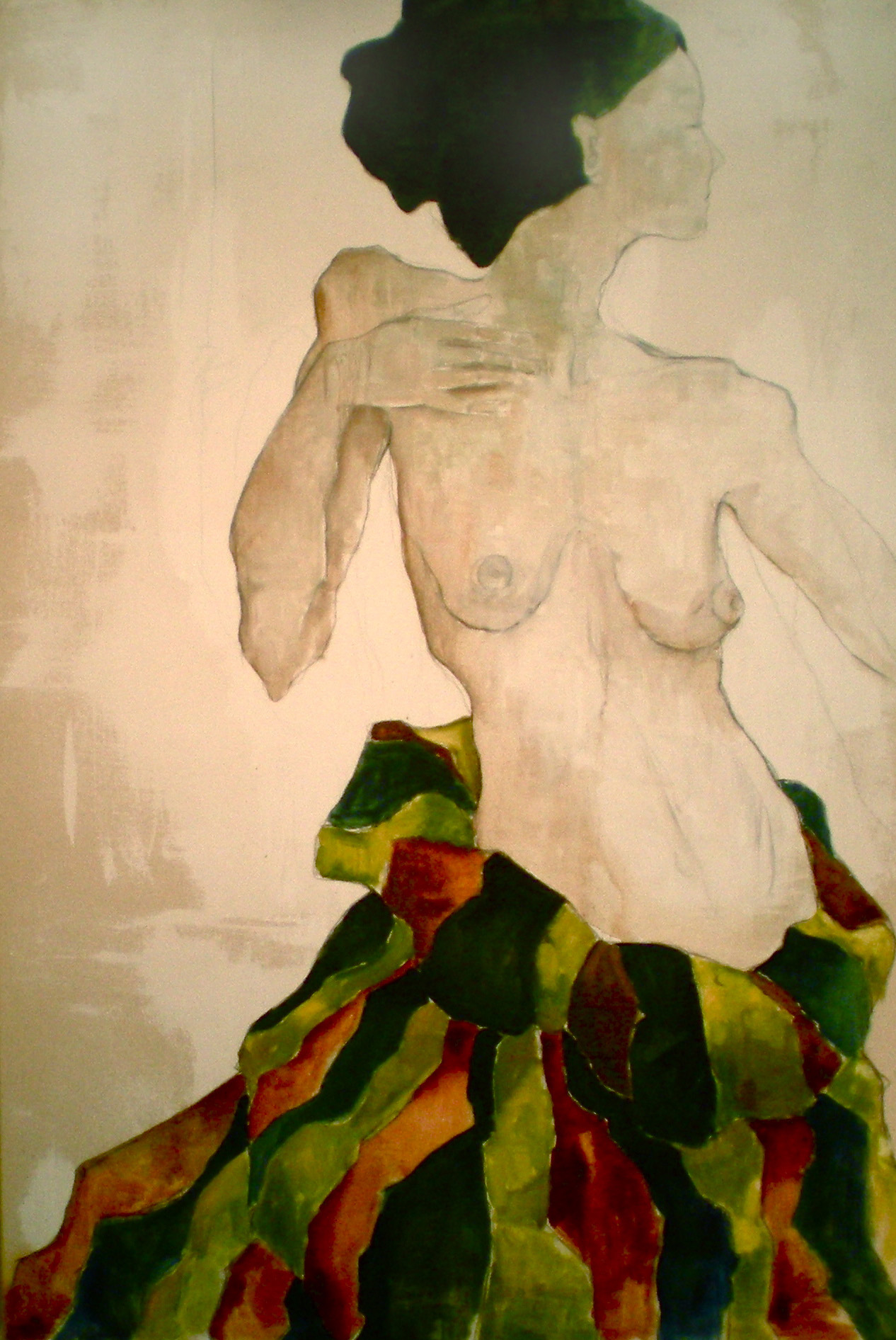 """The Dancer :: 38""""x28"""" :: oil and charcoal on canvas"""