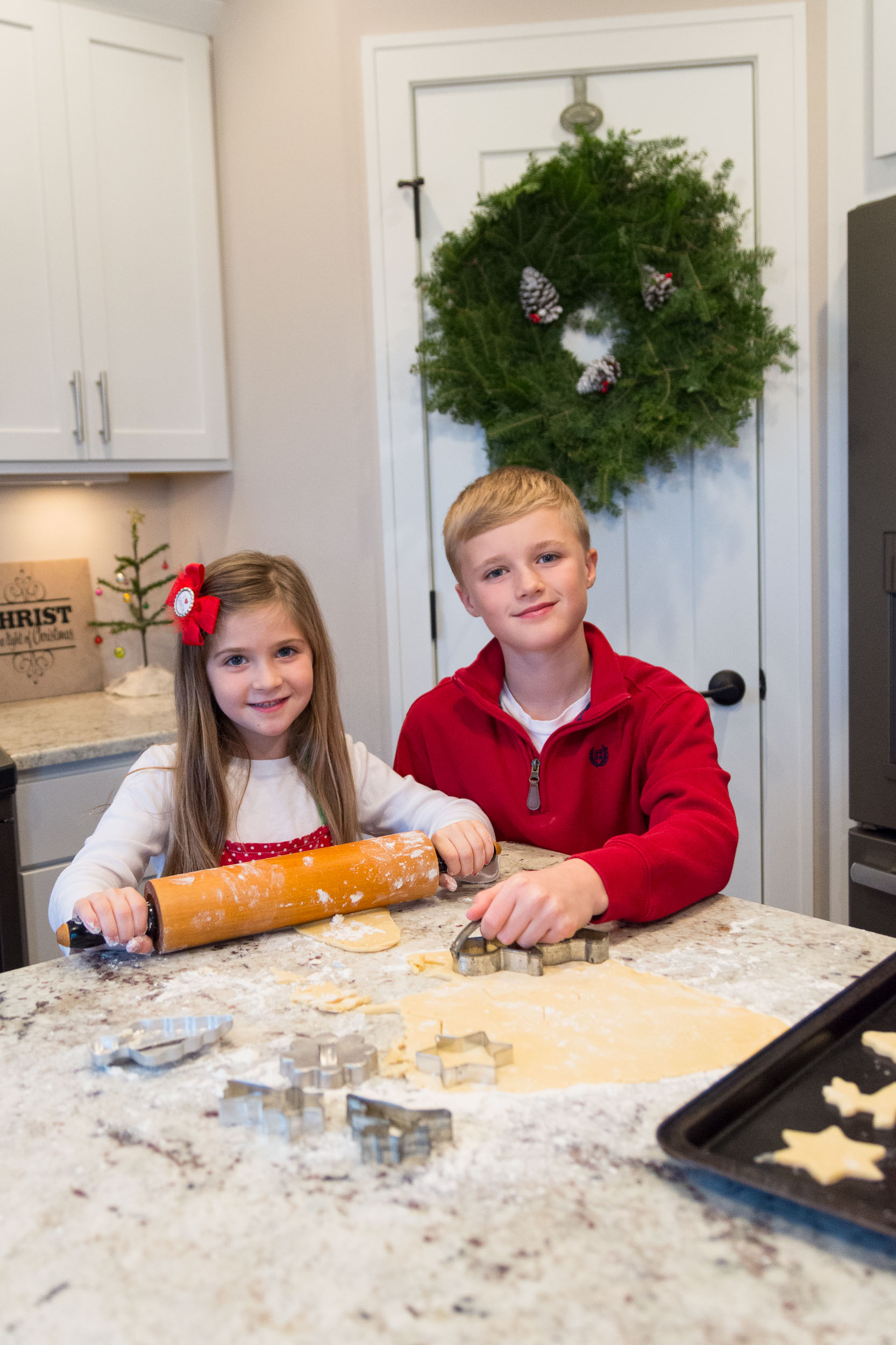 Sibling Children kitchen baking holiday photo portrait | Photo by BillyBengtson.com