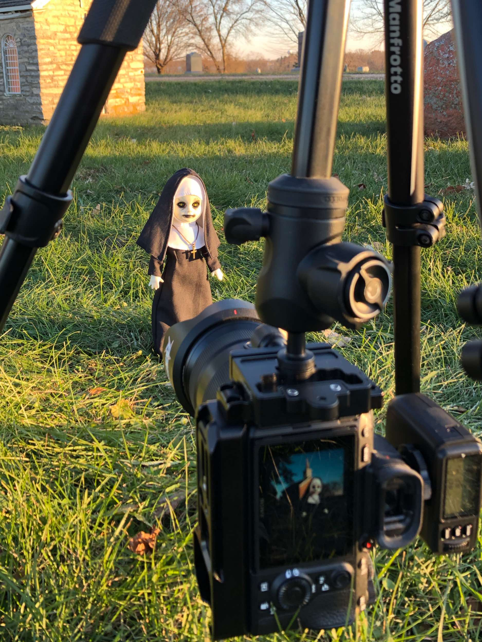It looks like my camera screen is all cracked while shooting the nun doll, but it really isn't.