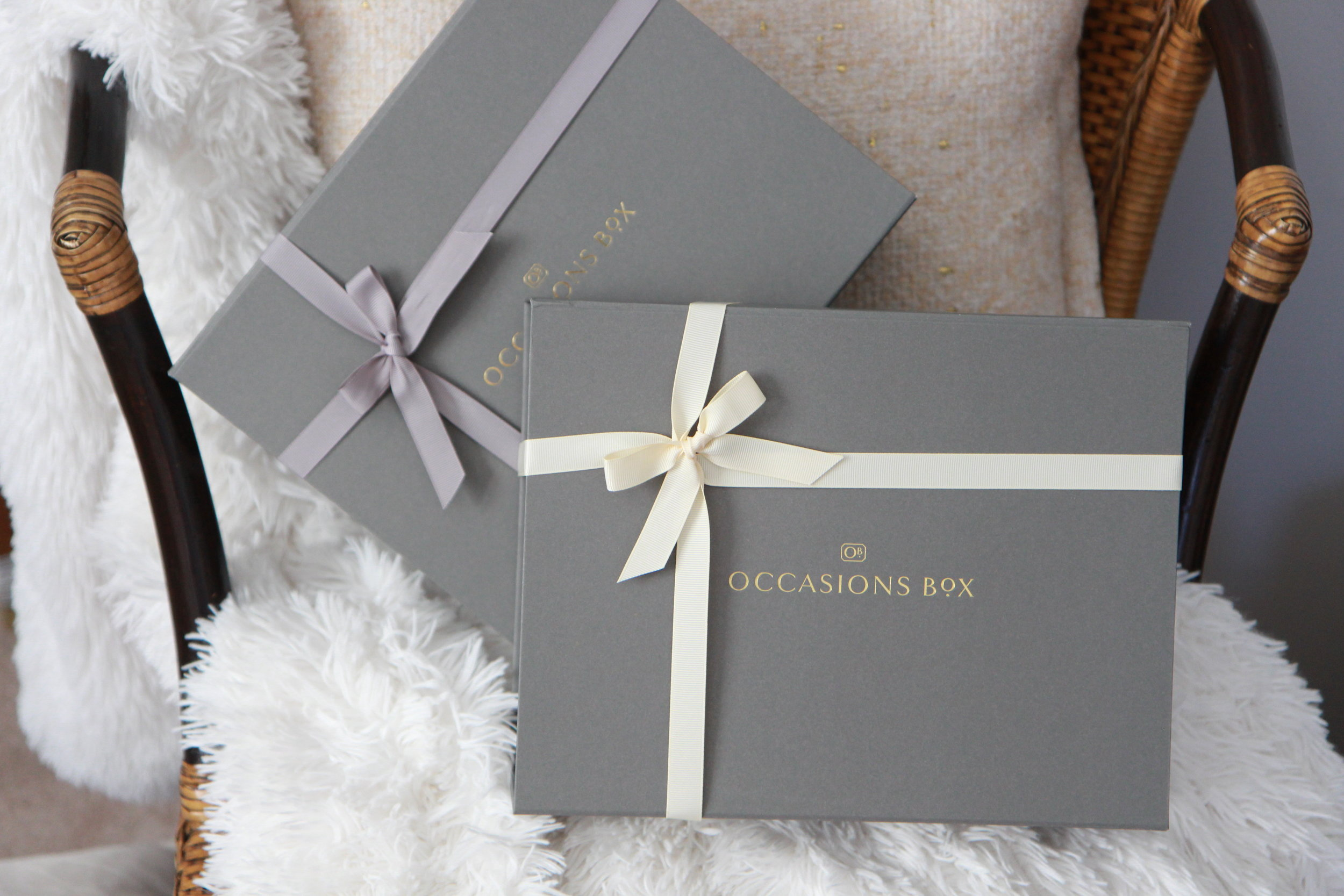 "About Us - At Occasions Box we make gift giving, extraordinary, effortless and most importantly meaningful. Our sophisticated gift boxes are thoughtfully curated with products that are distinctive, high in quality and finely customizable for any occasion. Our exquisite grey boxes are beautifully packaged to make a statement. They are delicately dressed with tissue paper, detailed with a satin ribbon and includes an optional handwritten note as our final personal touch. We pride ourselves in selecting, gathering and presenting an unforgettable gift that is certain to deliver a special kind of happiness to both the giver and the receiver.We also love to give back! It is our intention to make a difference in the world via our philanthropic endeavors. With every purchase we give back toward children's education or children's medical research, that is why we proudly stand by our motto, ""The box that keeps on giving."""