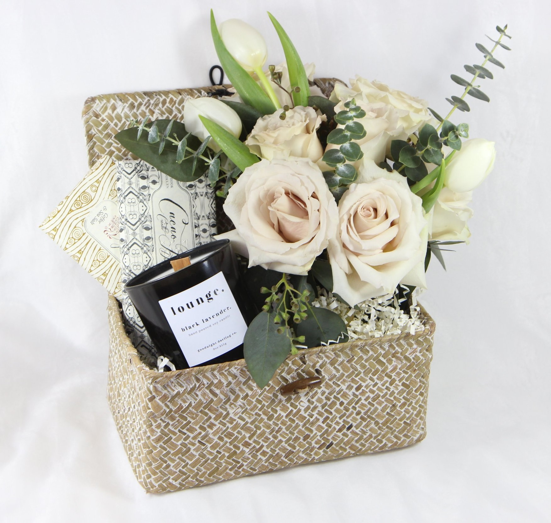 OB   Blooming Baskets - Wow your recipient with one of our pre-curated Blooming Baskets; an assortment of exquisite products in a woven keepsake basket topped with a gorgeous bouquet of seasonal flowers. Our blooming baskets are ready to make a statement this Valentine's Day and beyond. Local Orders only, must order by February 10th to ensure on time delivery.