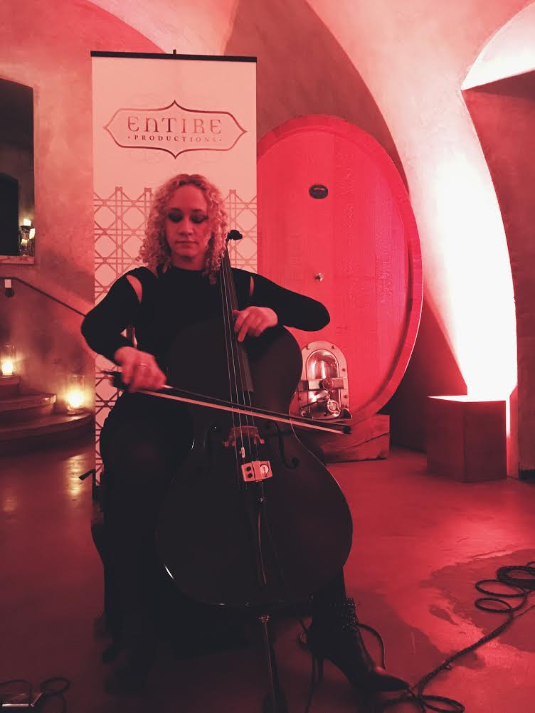 Our beautiful solo cellist in the wine cave greeting people with music upon their arrival.