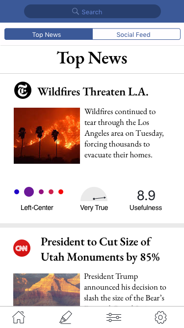 I re-designed the bias and truth indicators by adding labels, changing the bias scale to circles from a rectangle with color gradients, as well as making them smaller overall   Hamburger menu was changed to a bottom tab bar per iOS standards  Facebook-related colors and format for the search field were added to add more branding