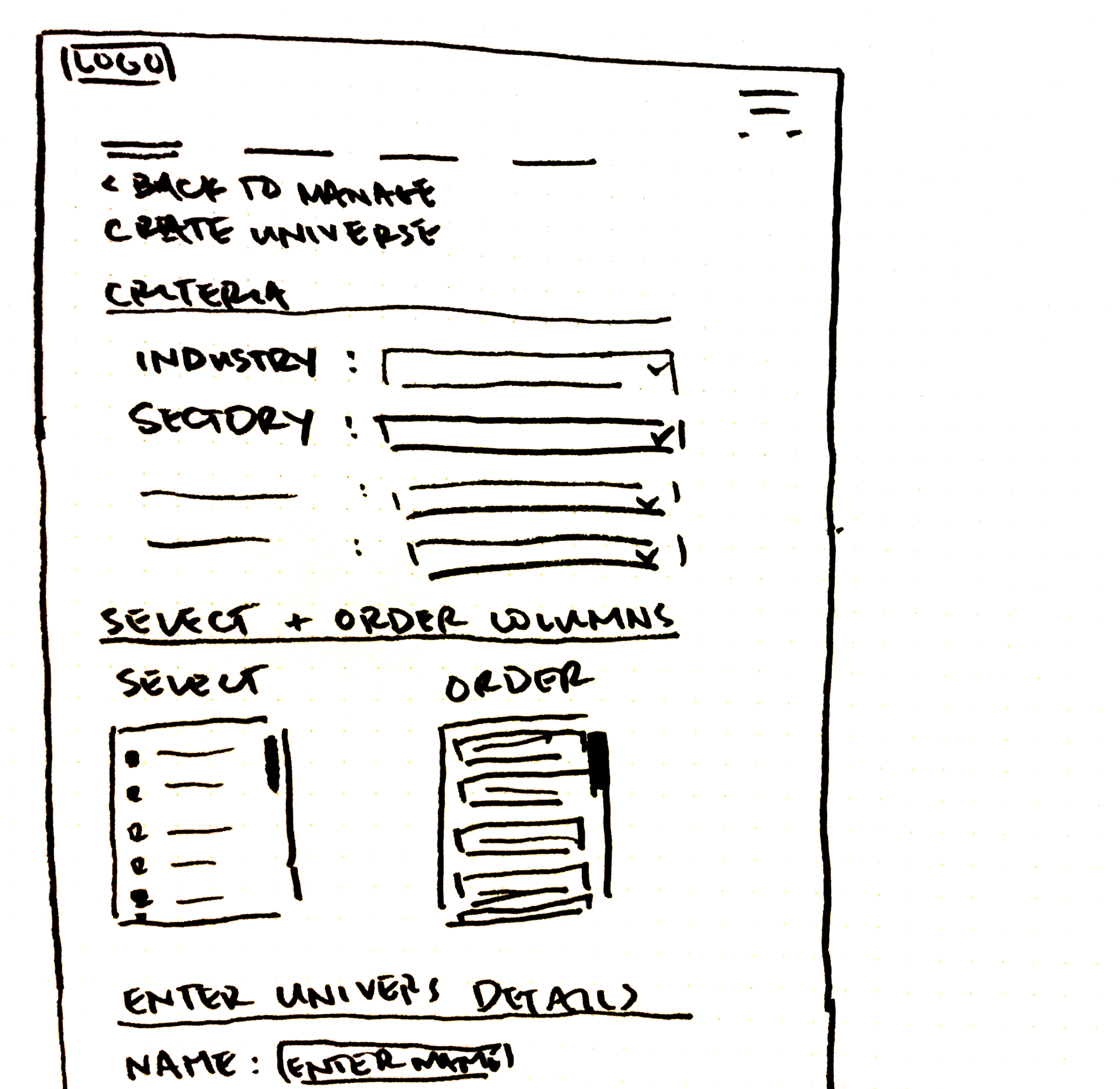 Wireframe of Create Universe