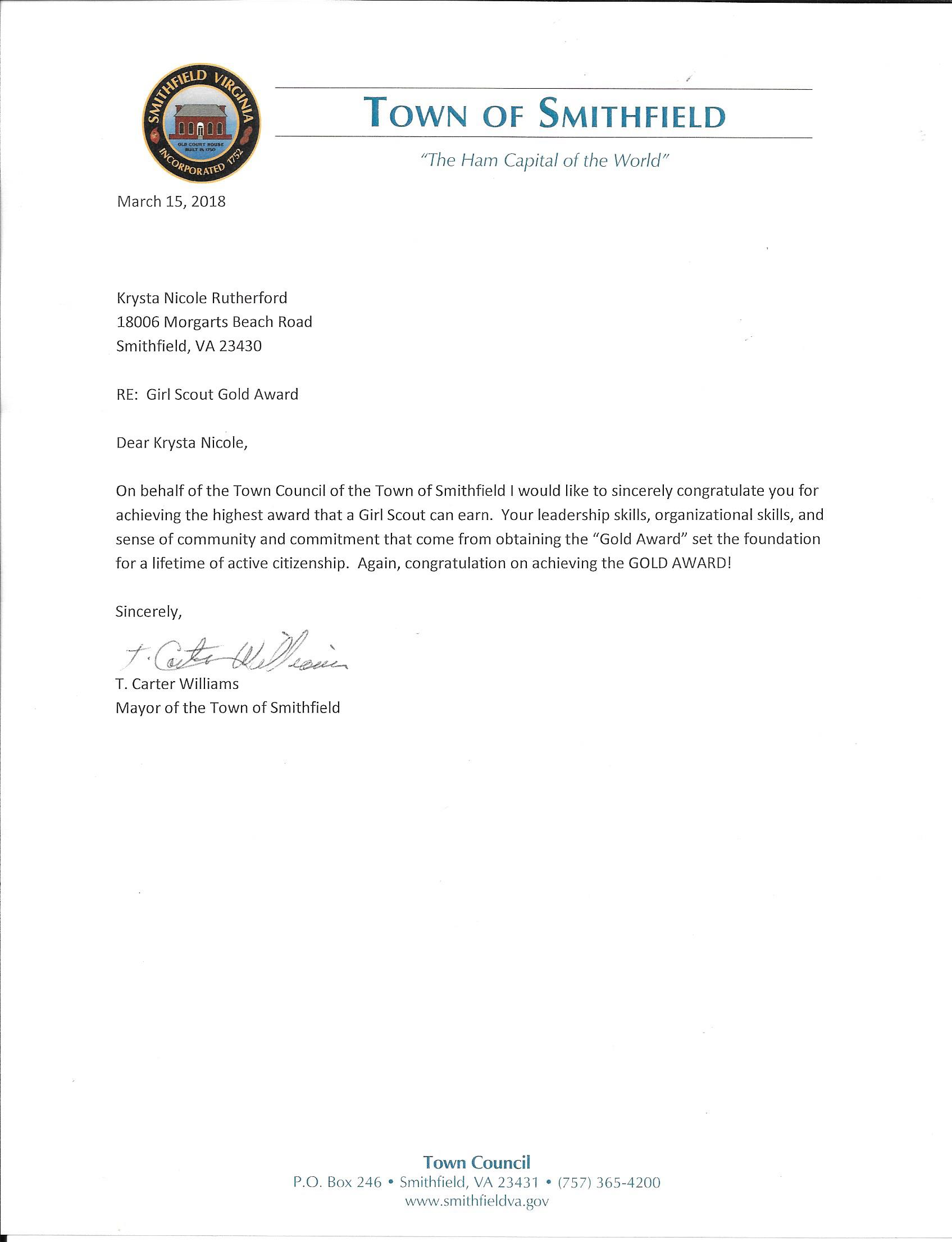 Letter from The Town of Smithfield.jpg