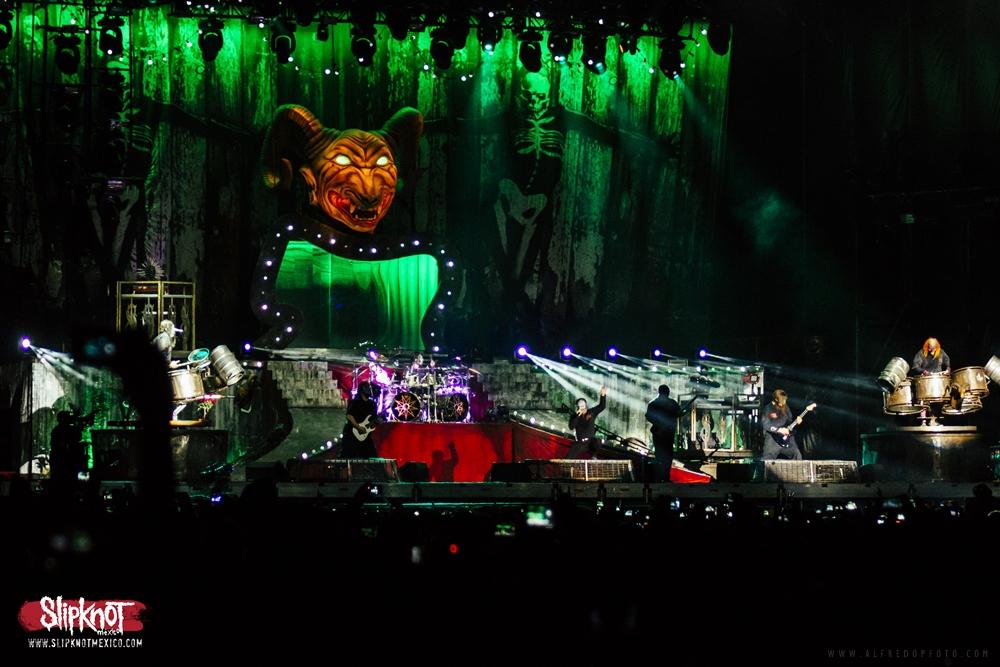 Slipknot durante su primera presentación en México. Diciembre 5, 2015.