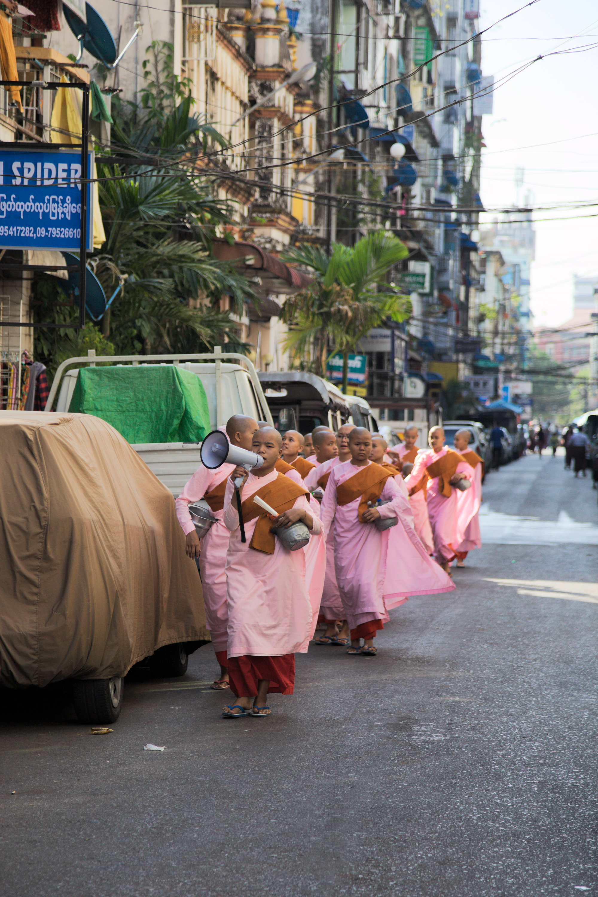 Young nuns collecting alms, downtown Yangon
