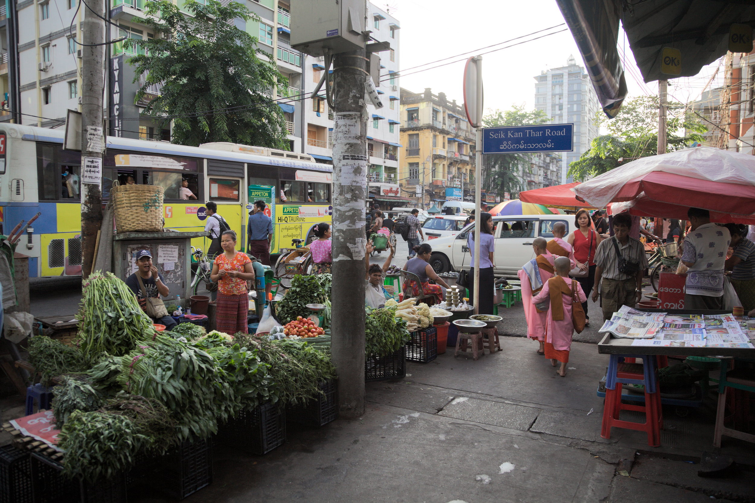 Street-sellers, downtown Yangon