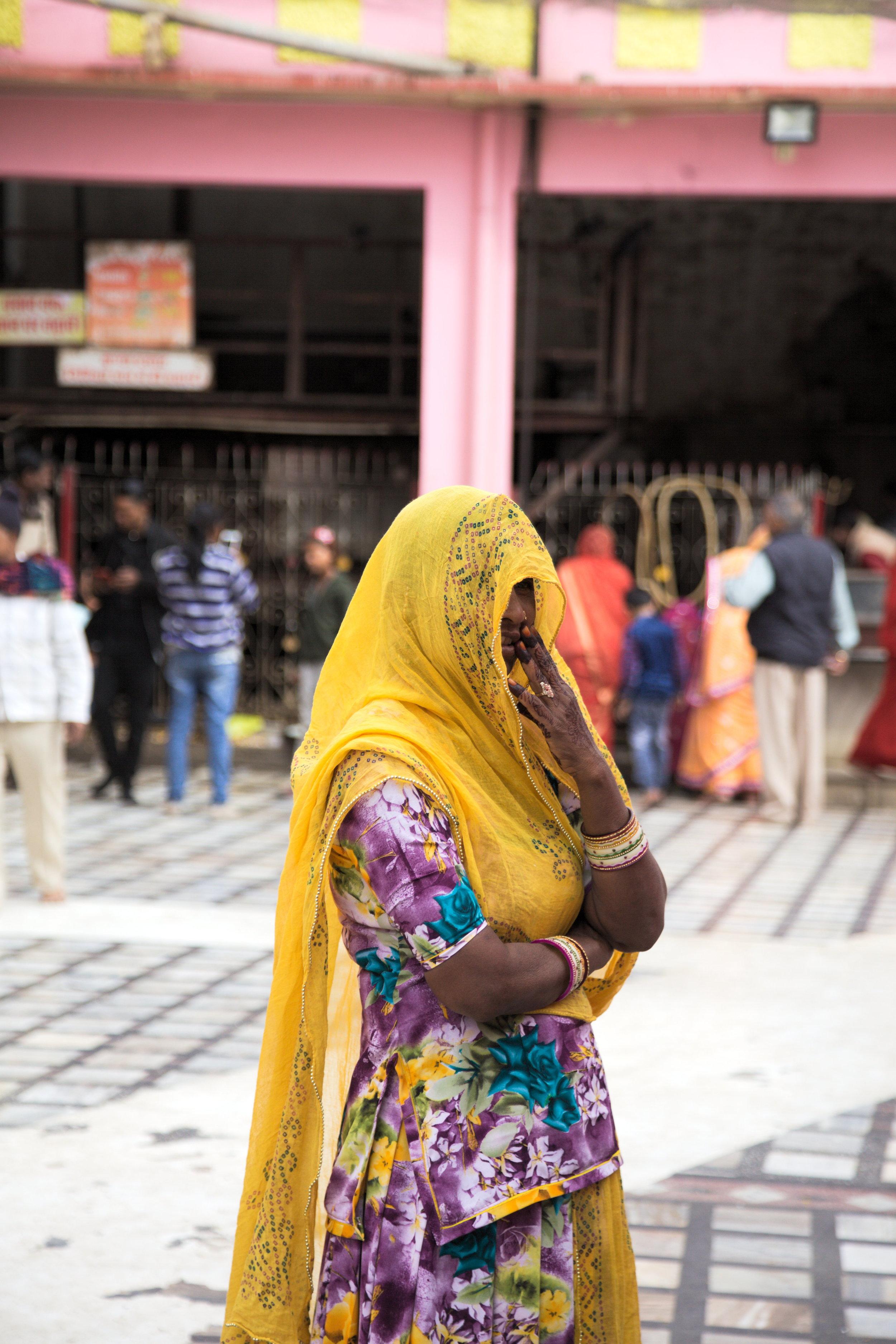 Worshipper at Karni Mata temple, Rajasthan